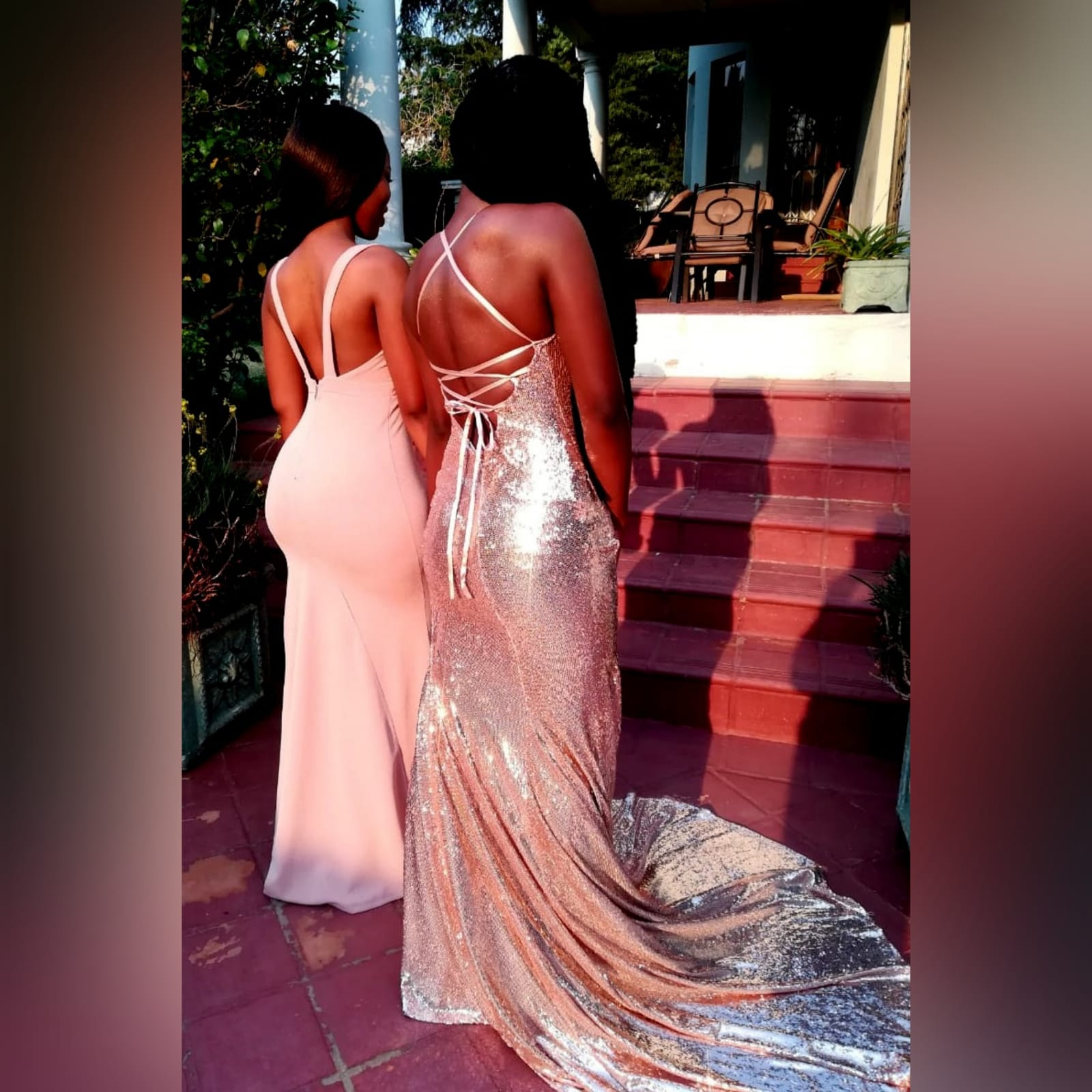 Rose gold fully sequined soft mermaid evening dress 5 rose gold fully sequined soft mermaid evening dress with a low open back, with lace-up detail.
