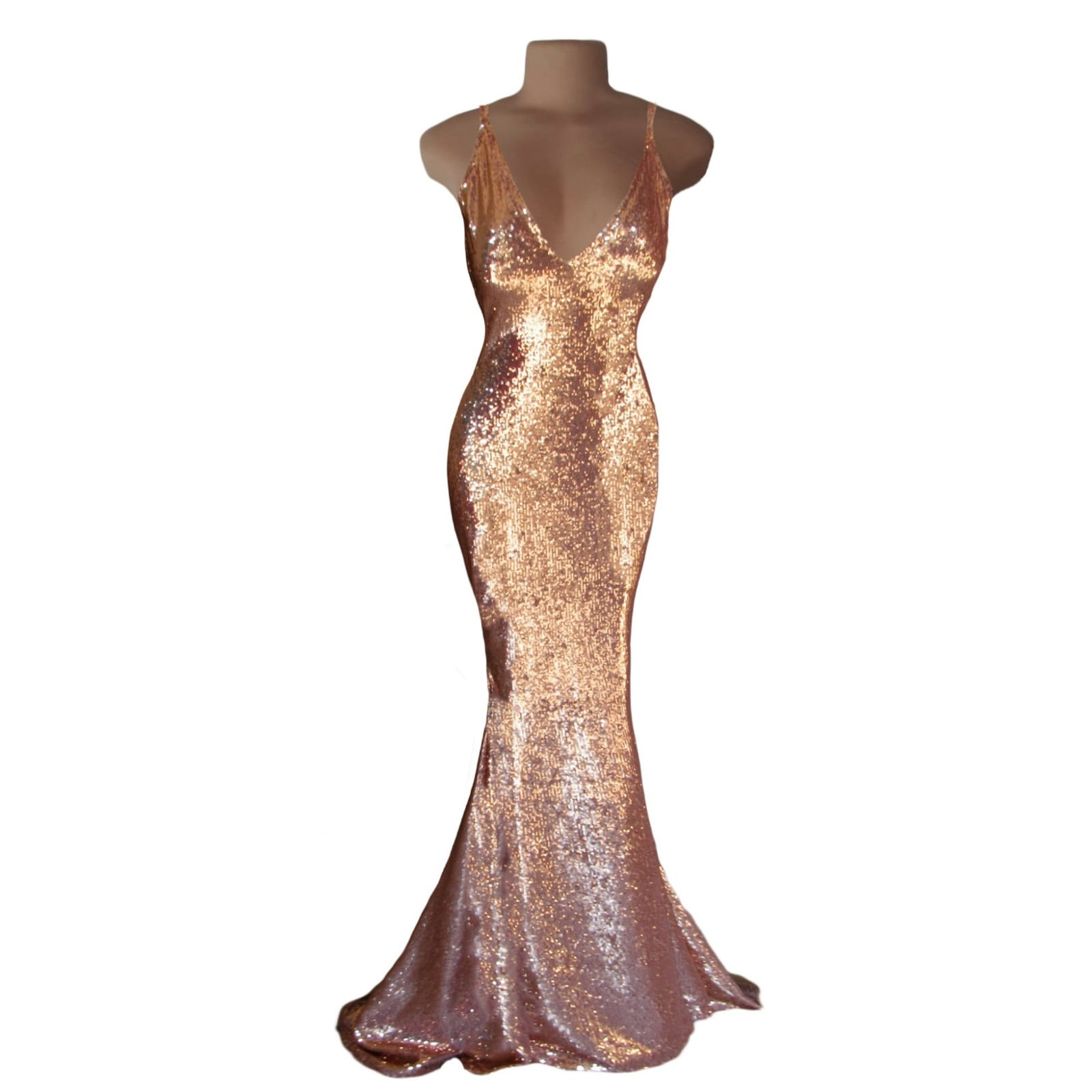 Rose gold long tight evening dress 4 rose gold long tight evening dress v neckline & low v open back with thin shoulder straps.