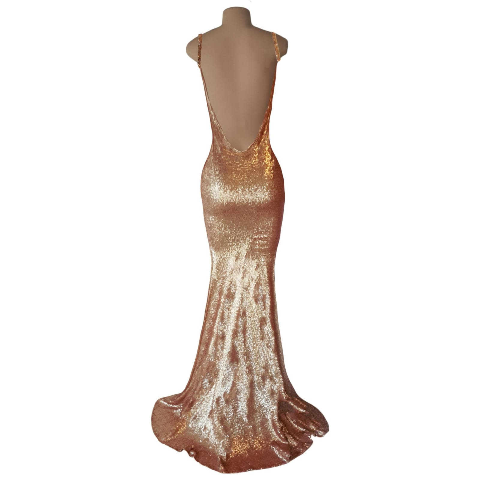 Rose gold long tight evening dress 5 rose gold long tight evening dress v neckline & low v open back with thin shoulder straps.
