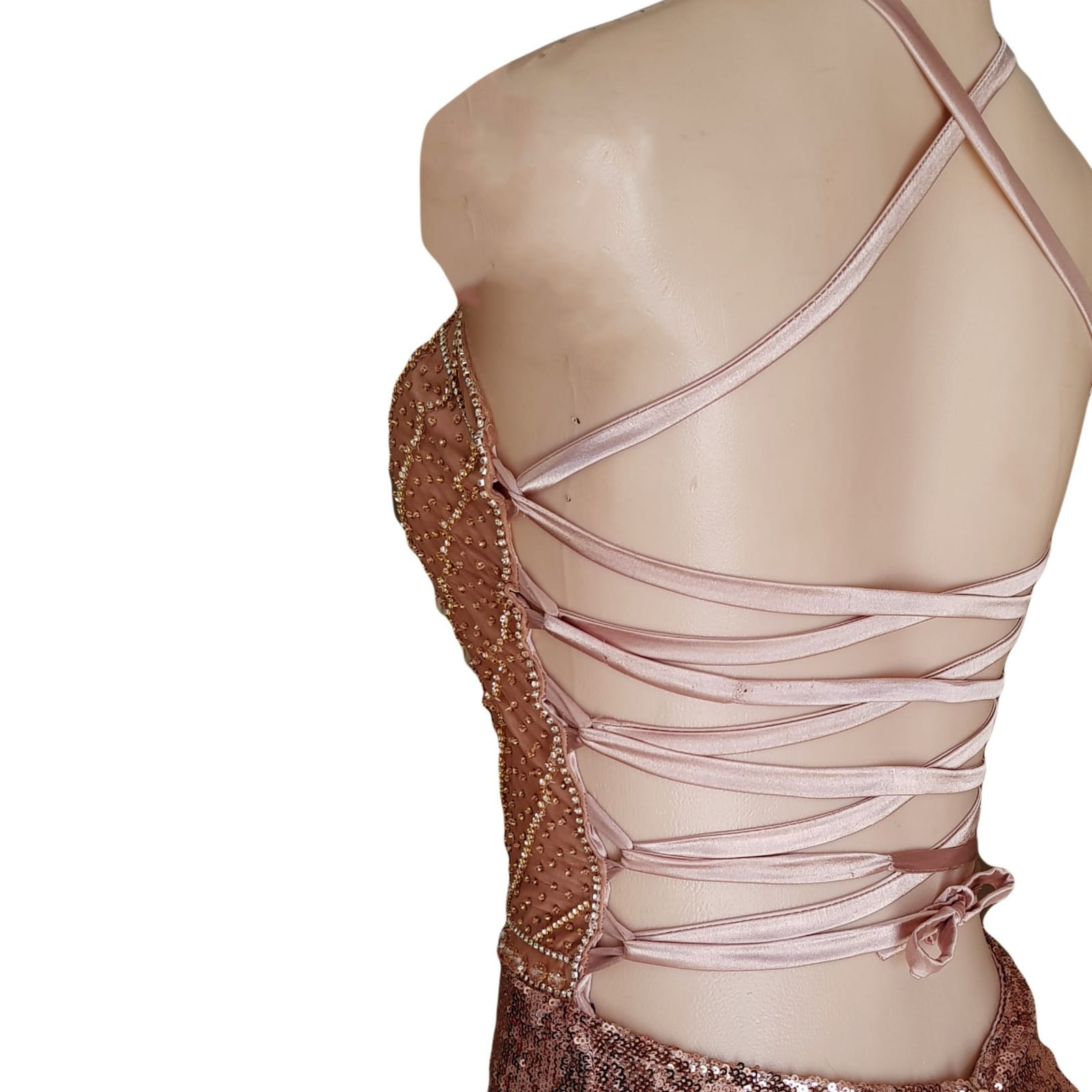 Rose gold sequins beaded matric dance dress with a beaded bodice 8 rose gold sequins beaded matric dance dress with a beaded bodice, an open lace-up back. High slit and a train.