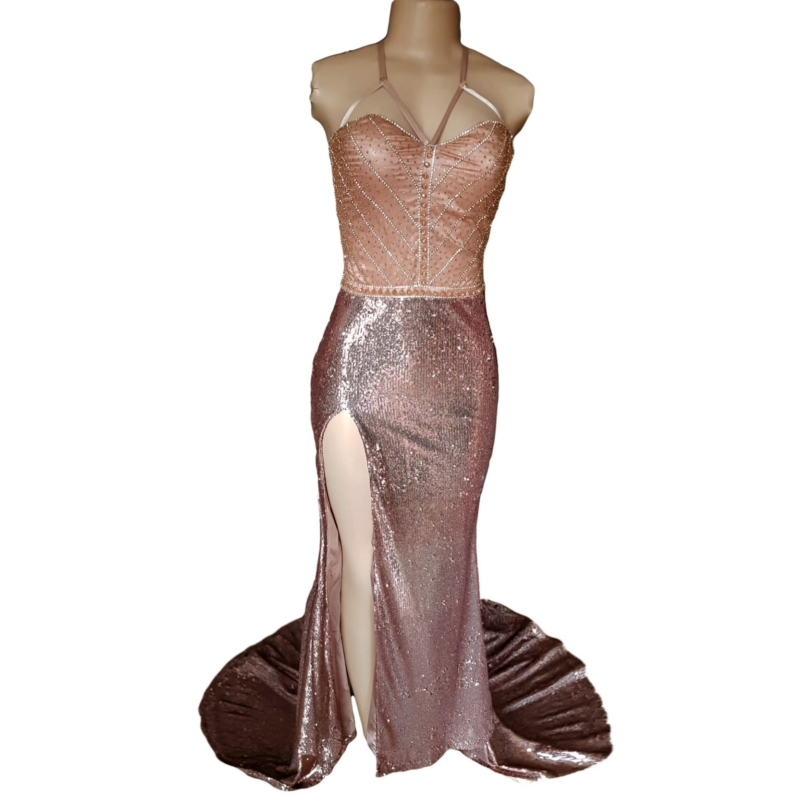 Rose gold sequins beaded matric dance dress with a beaded bodice 6 rose gold sequins beaded matric dance dress with a beaded bodice, an open lace-up back. High slit and a train.