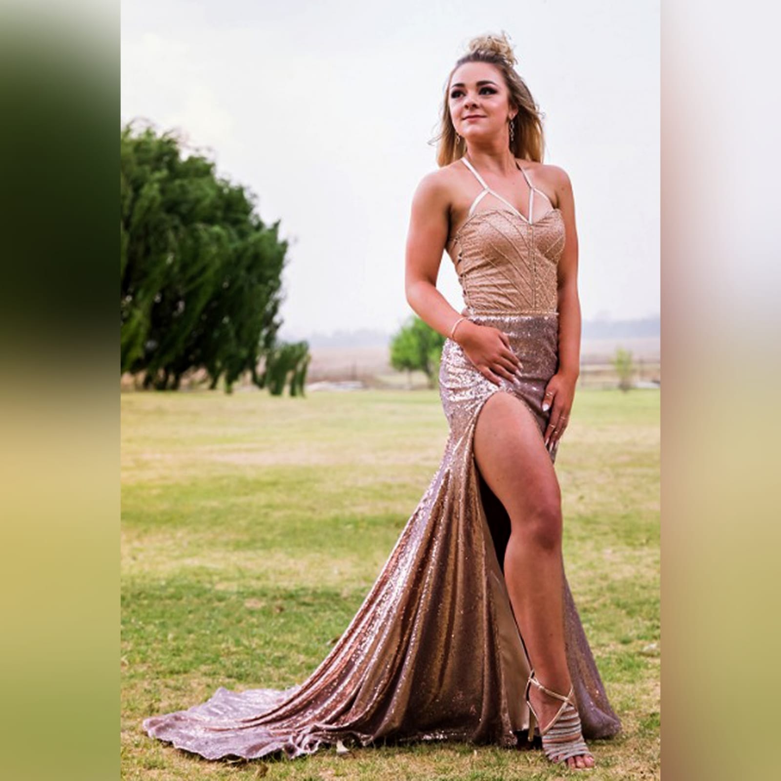 Rose gold sequins beaded matric dance dress with a beaded bodice 1 rose gold sequins beaded matric dance dress with a beaded bodice, an open lace-up back. High slit and a train.