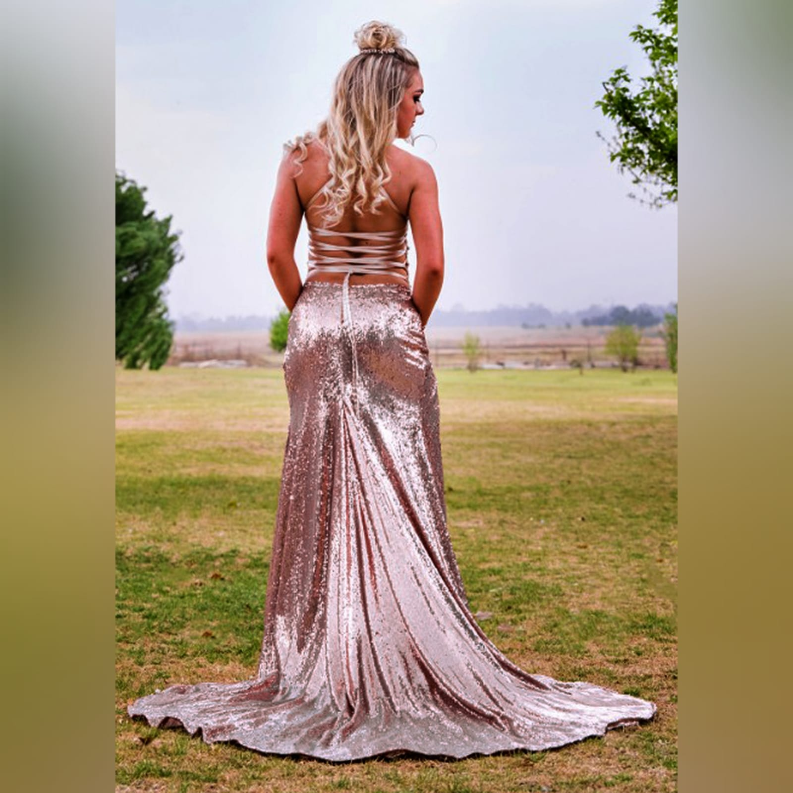 Rose gold sequins beaded matric dance dress with a beaded bodice 4 rose gold sequins beaded matric dance dress with a beaded bodice, an open lace-up back. High slit and a train.