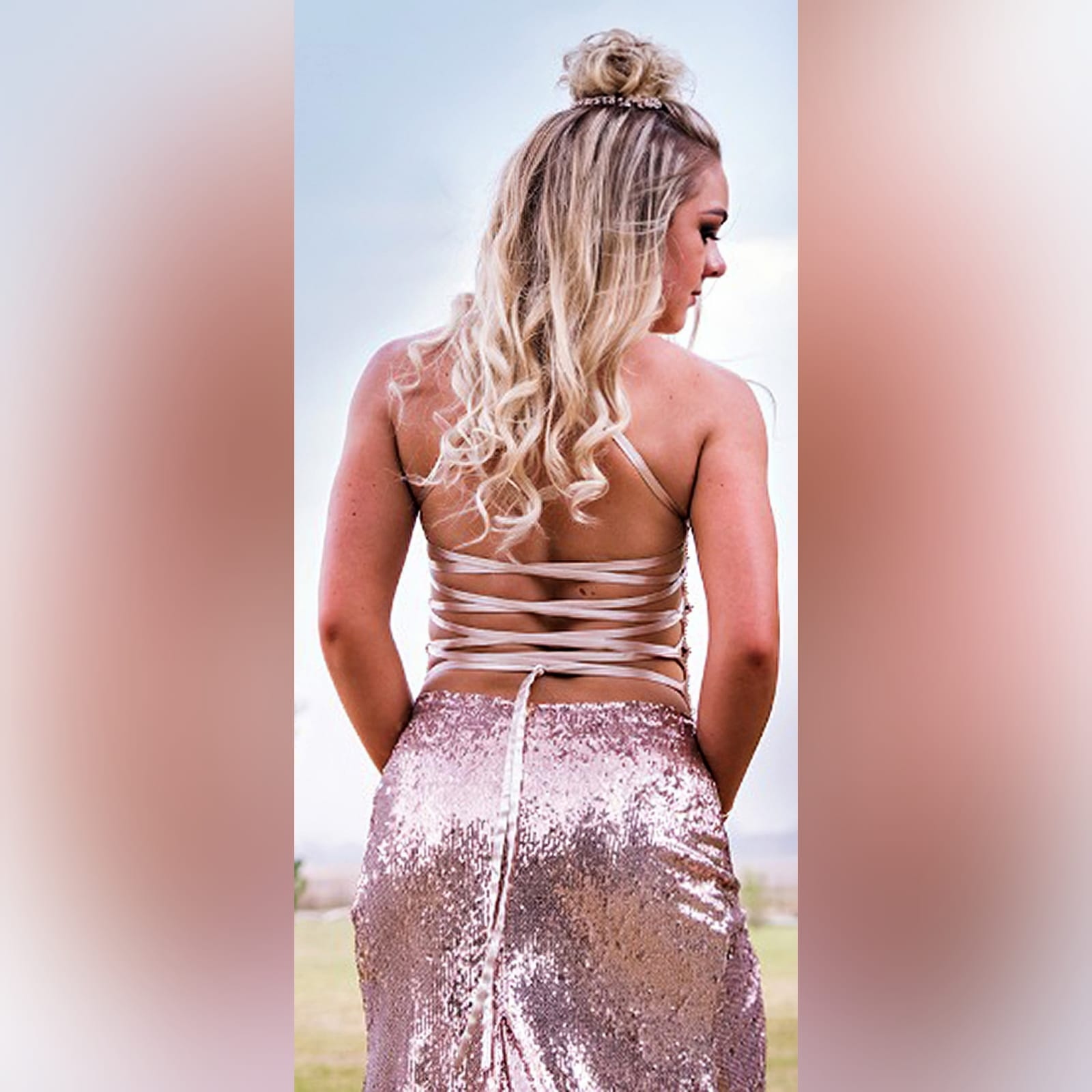 Rose gold sequins beaded matric dance dress with a beaded bodice 2 rose gold sequins beaded matric dance dress with a beaded bodice, an open lace-up back. High slit and a train.