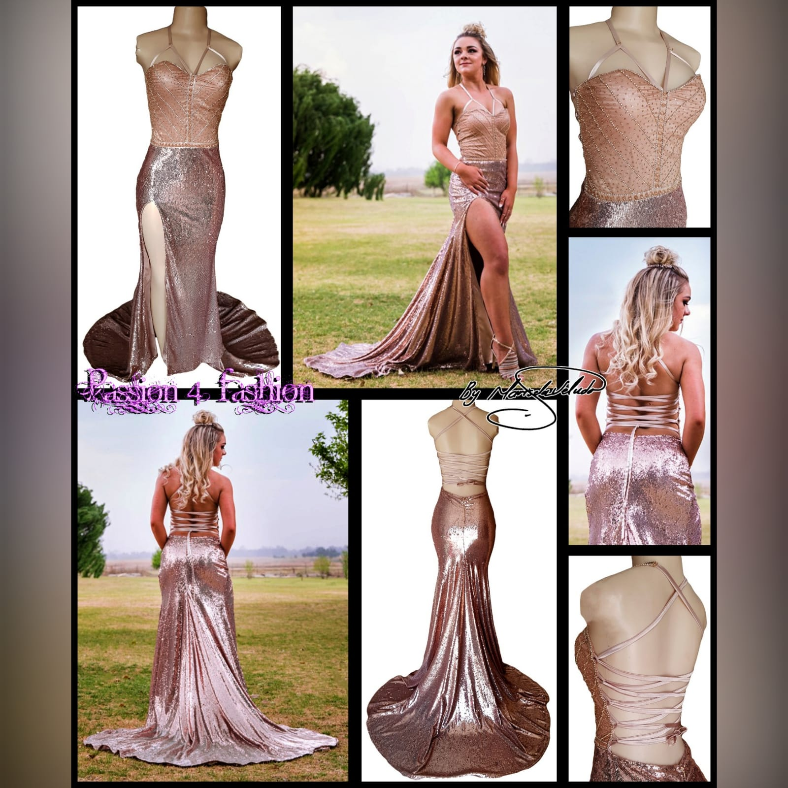 Rose gold sequins beaded matric dance dress with a beaded bodice 5 rose gold sequins beaded matric dance dress with a beaded bodice, an open lace-up back. High slit and a train.