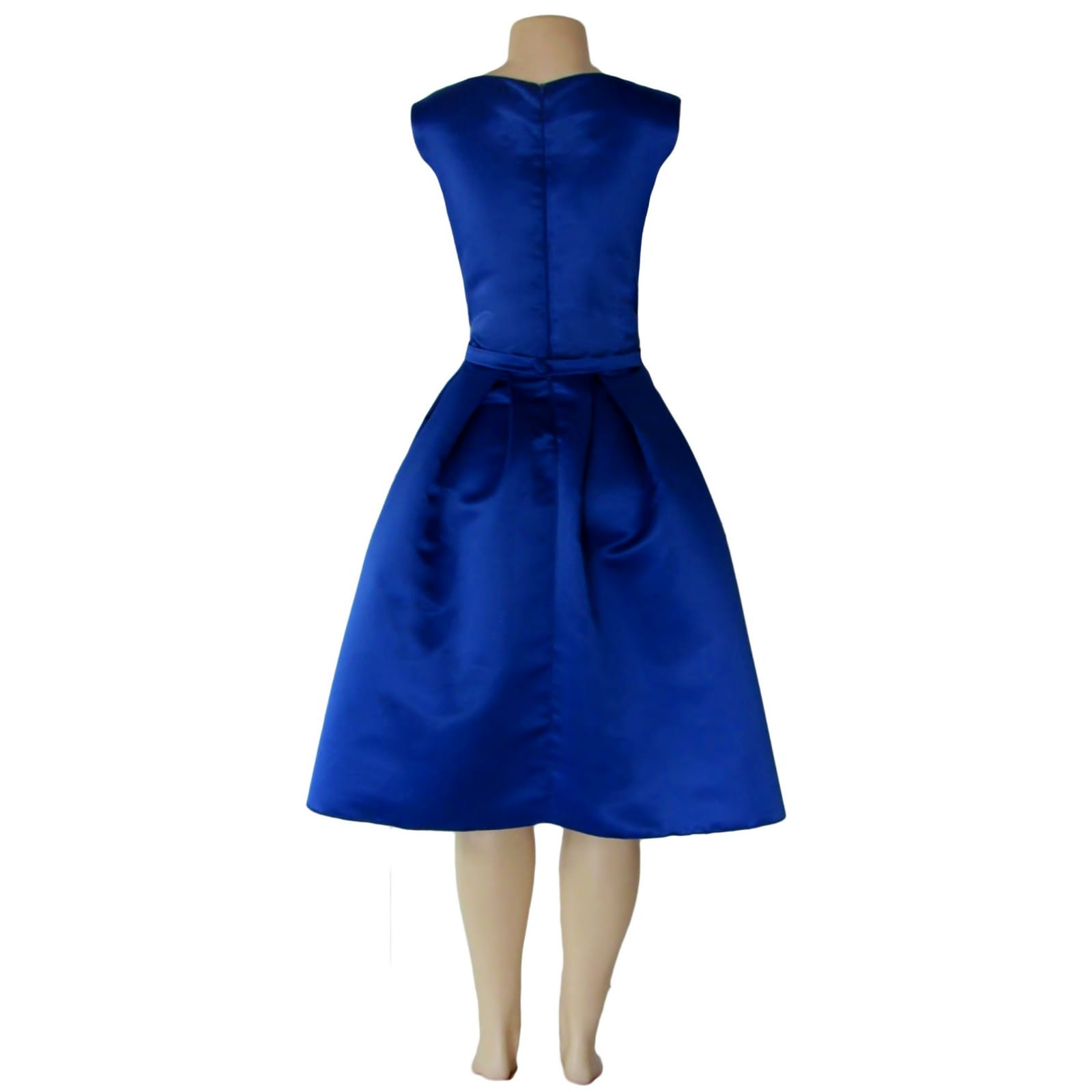 Royal blue 3/4 length pleated evening dress 3 royal blue 3/4 length pleated evening dress with a fitted bodice with a slit rounded neckline.