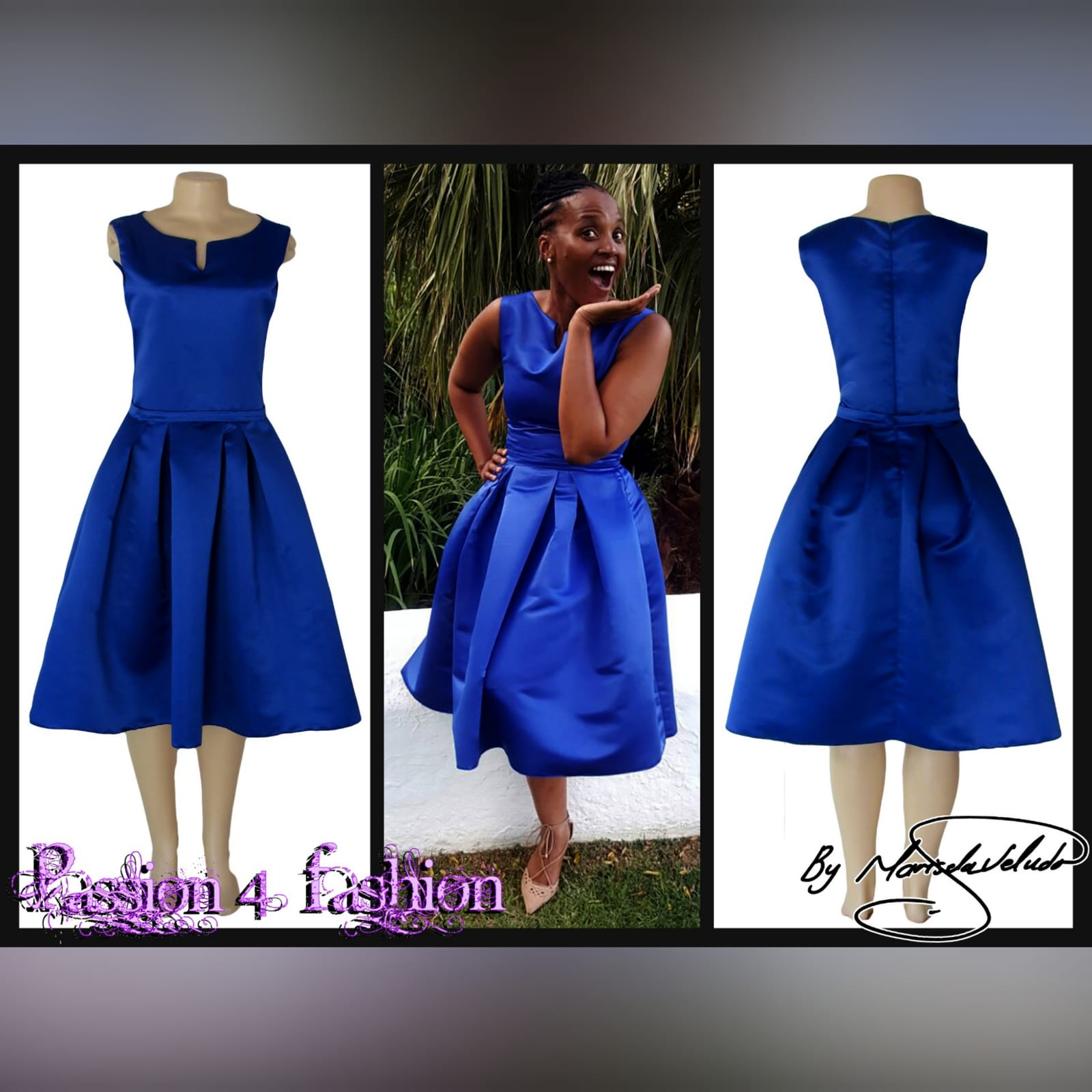 Royal blue 3/4 length pleated evening dress 2 royal blue 3/4 length pleated evening dress with a fitted bodice with a slit rounded neckline.