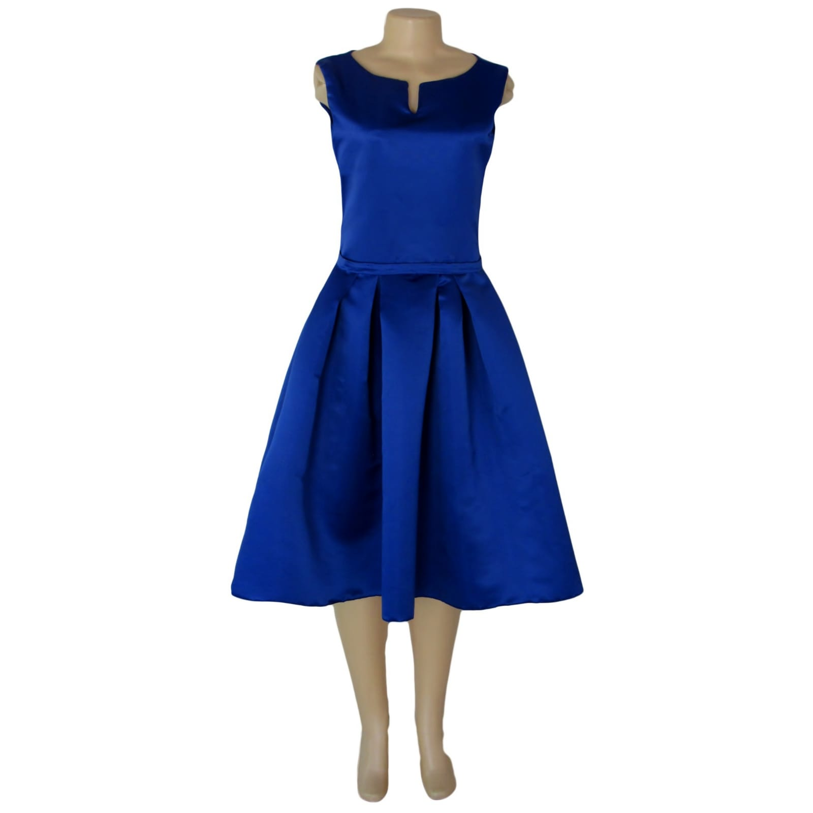 Royal blue 3/4 length pleated evening dress 4 royal blue 3/4 length pleated evening dress with a fitted bodice with a slit rounded neckline.