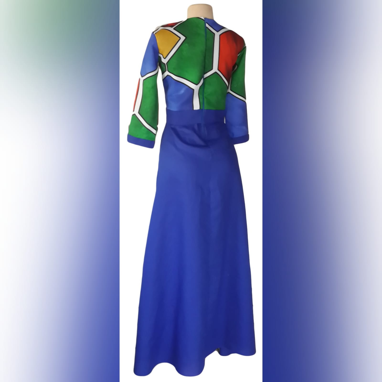 Royal blue ndebele dress and matching ndebele shirt 6 royal blue and ndebele empire fit dress. Bodice with ndebele print and 3/4 sleeves and an under bust belt. Mens matching ndebele shirt in royal blue. Traditional wedding attire.