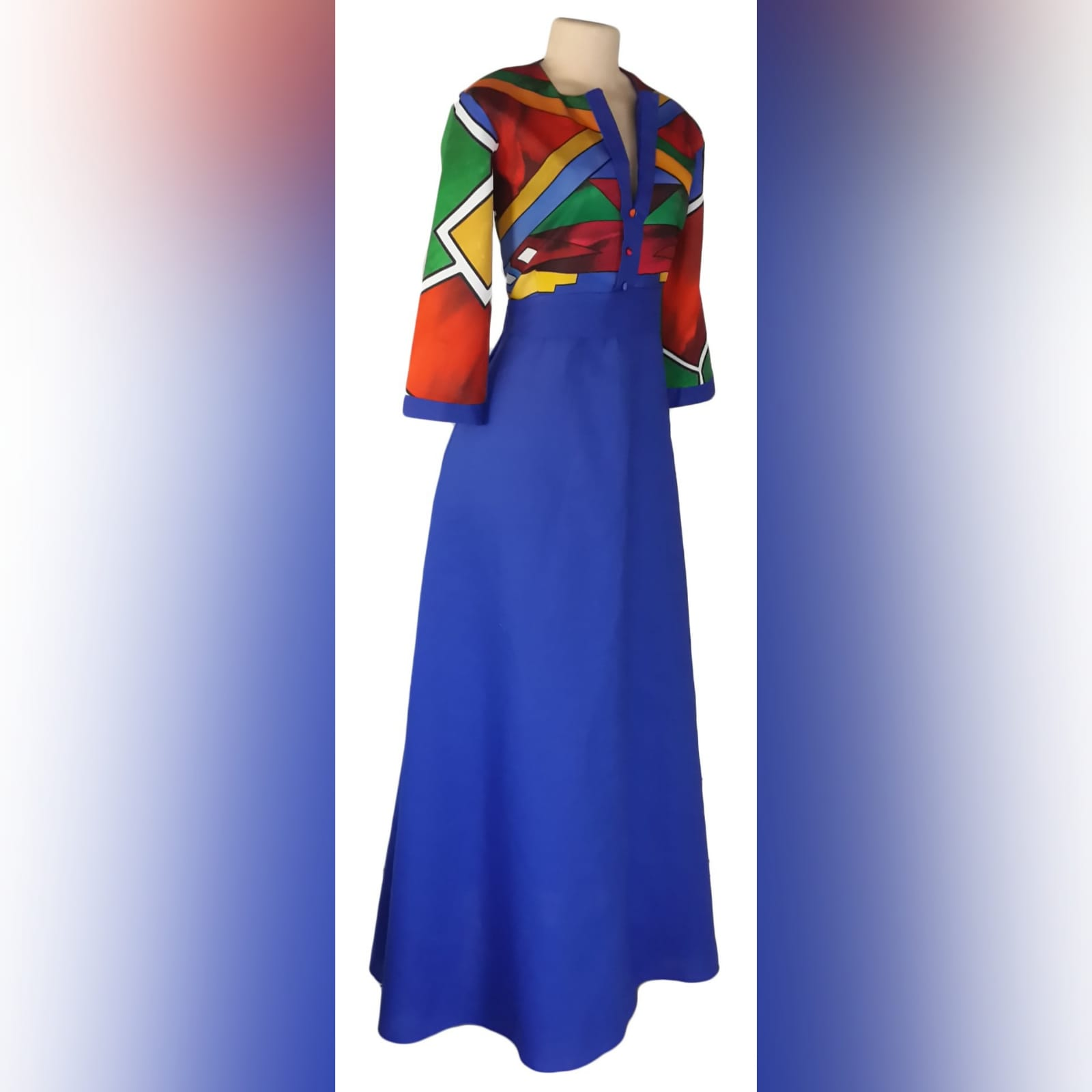 Royal blue ndebele dress and matching ndebele shirt 7 royal blue and ndebele empire fit dress. Bodice with ndebele print and 3/4 sleeves and an under bust belt. Mens matching ndebele shirt in royal blue. Traditional wedding attire.