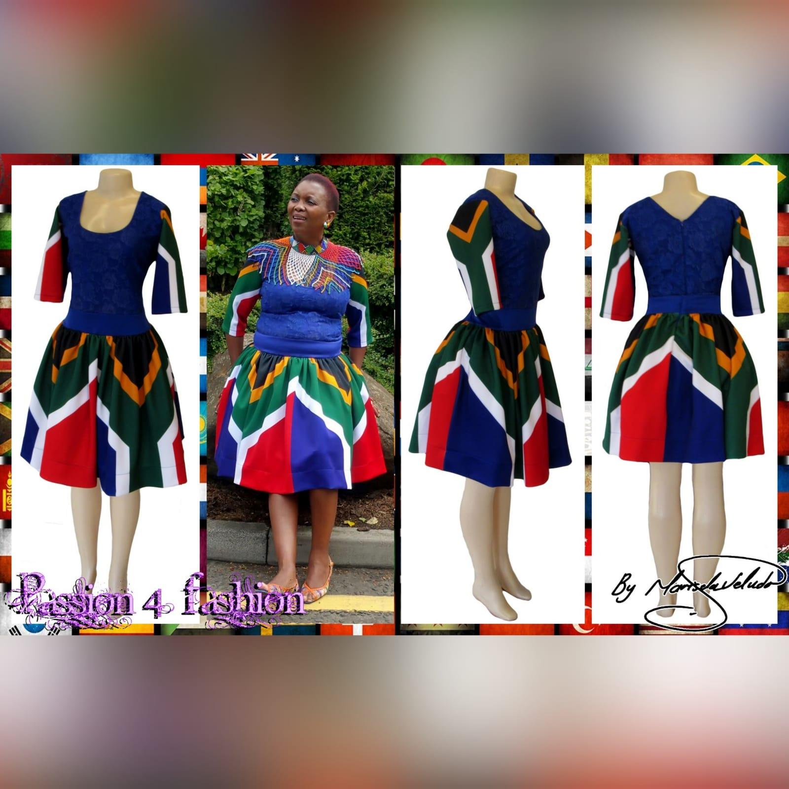 Royal blue sa flag short traditional dress 3 royal blue sa flag short traditional dress. With sa flag sleeves and a lace bodice. Traditional dress for graduation.