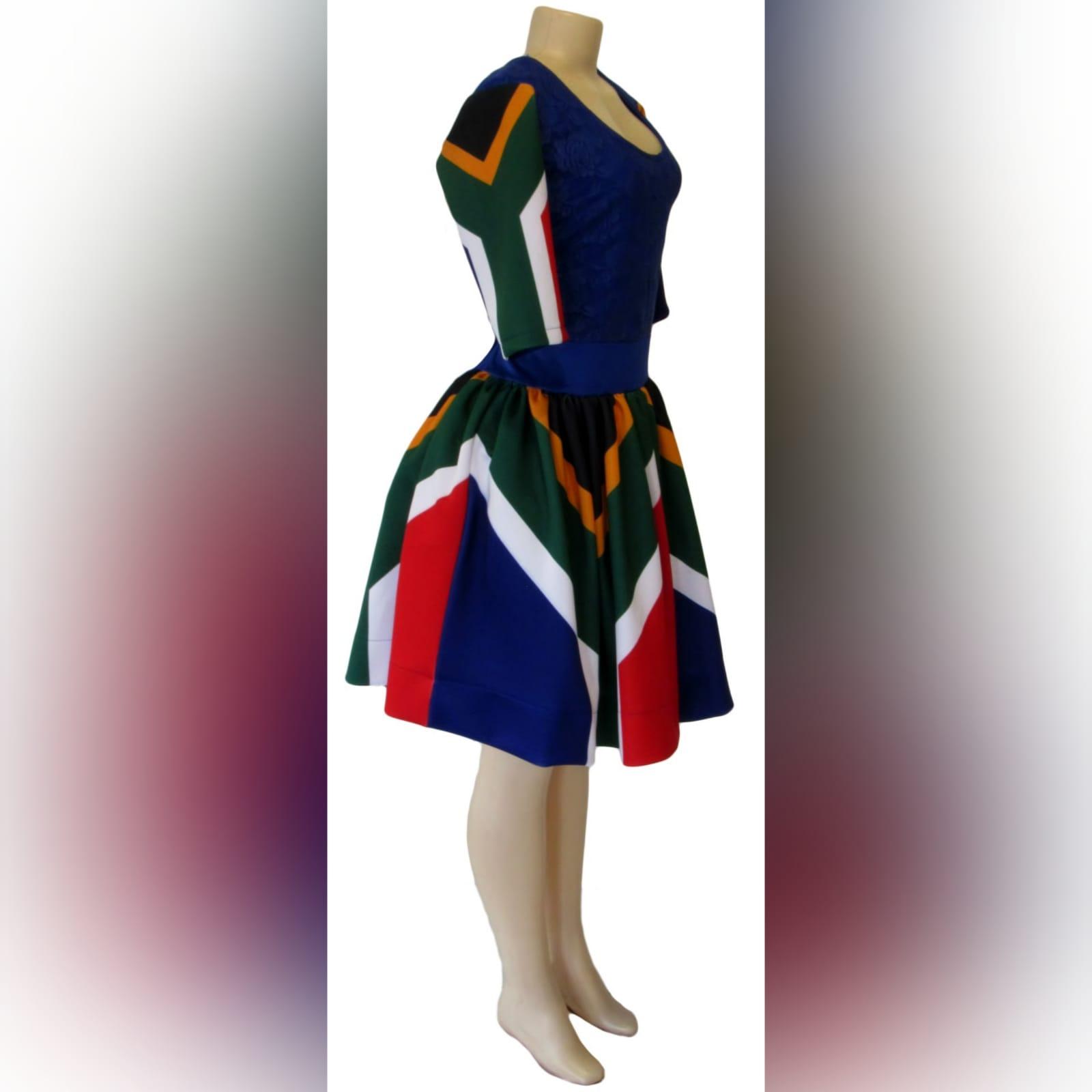 Royal blue sa flag short traditional dress 5 royal blue sa flag short traditional dress. With sa flag sleeves and a lace bodice. Traditional dress for graduation.