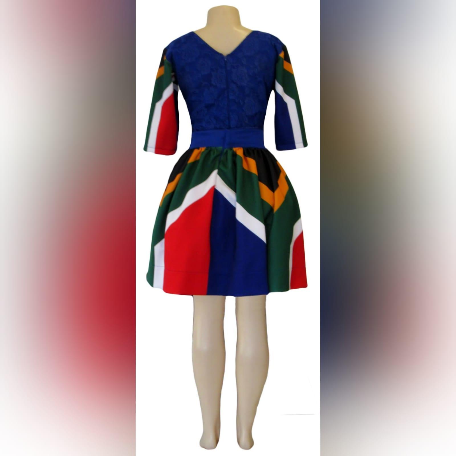 Royal blue sa flag short traditional dress 6 royal blue sa flag short traditional dress. With sa flag sleeves and a lace bodice. Traditional dress for graduation.