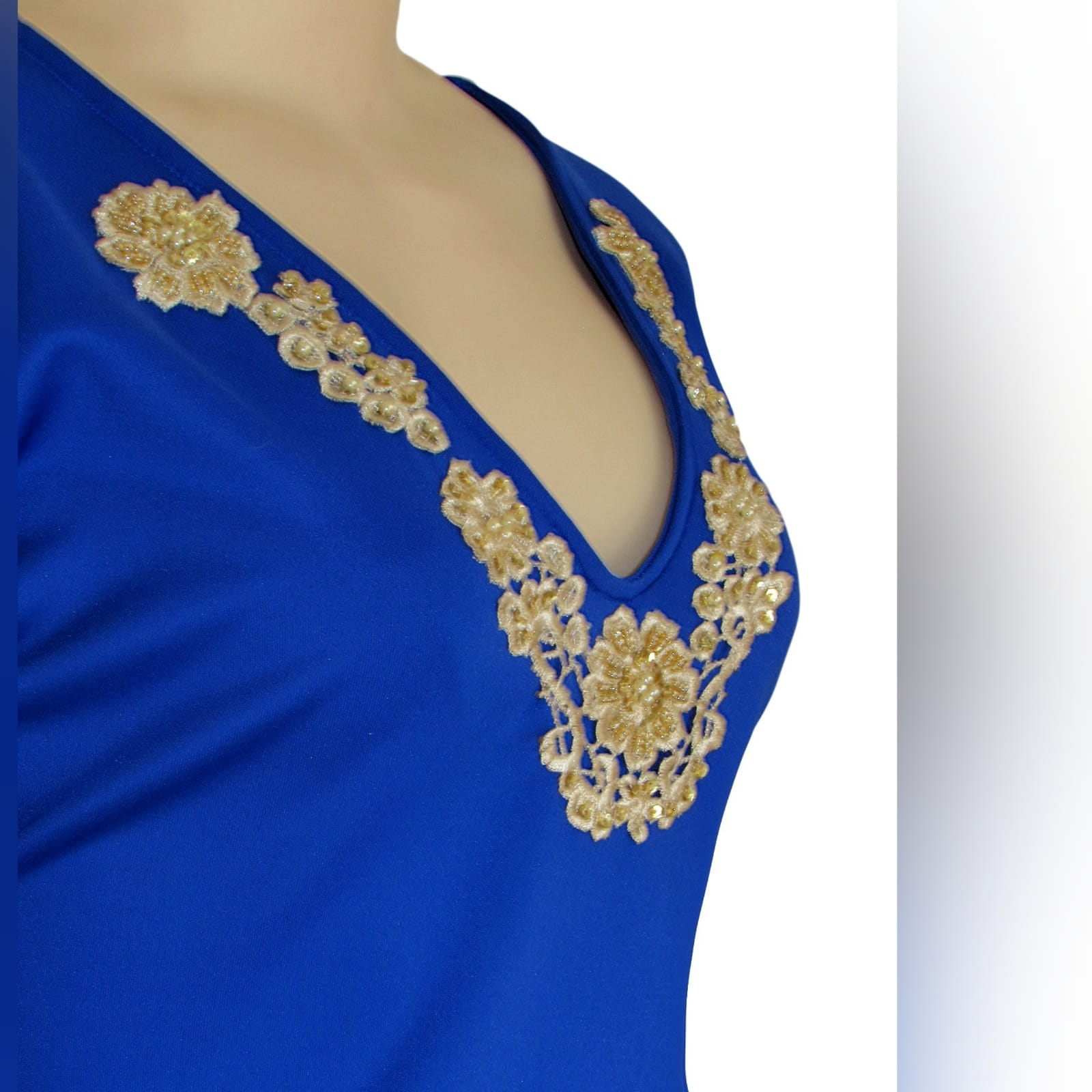 Royal blue & gold peplum smart casual top 3 royal blue & gold peplum smart casual top, long sleeves, v neckline & cuffs detailed with gold beaded lace