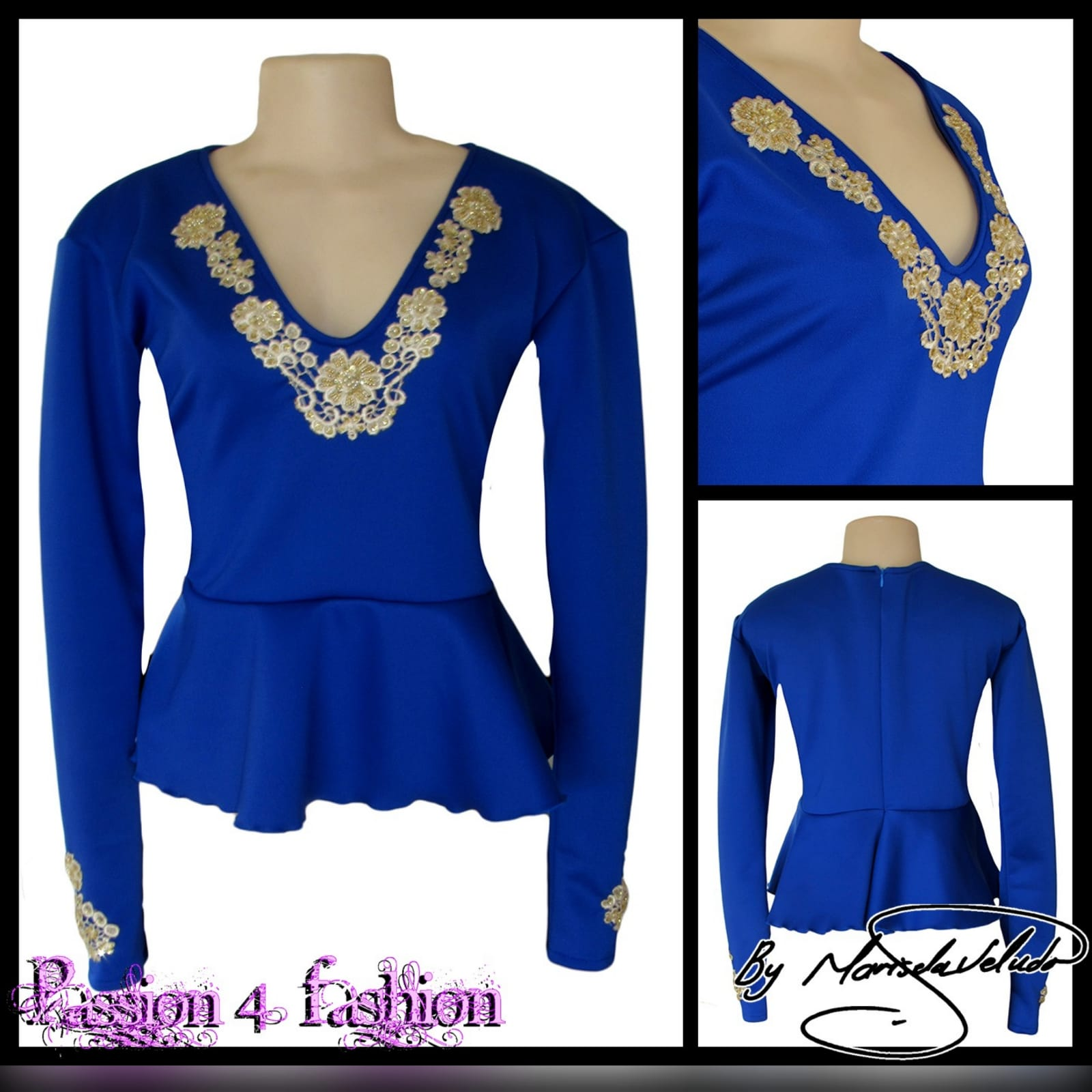Royal blue & gold peplum smart casual top 2 royal blue & gold peplum smart casual top, long sleeves, v neckline & cuffs detailed with gold beaded lace