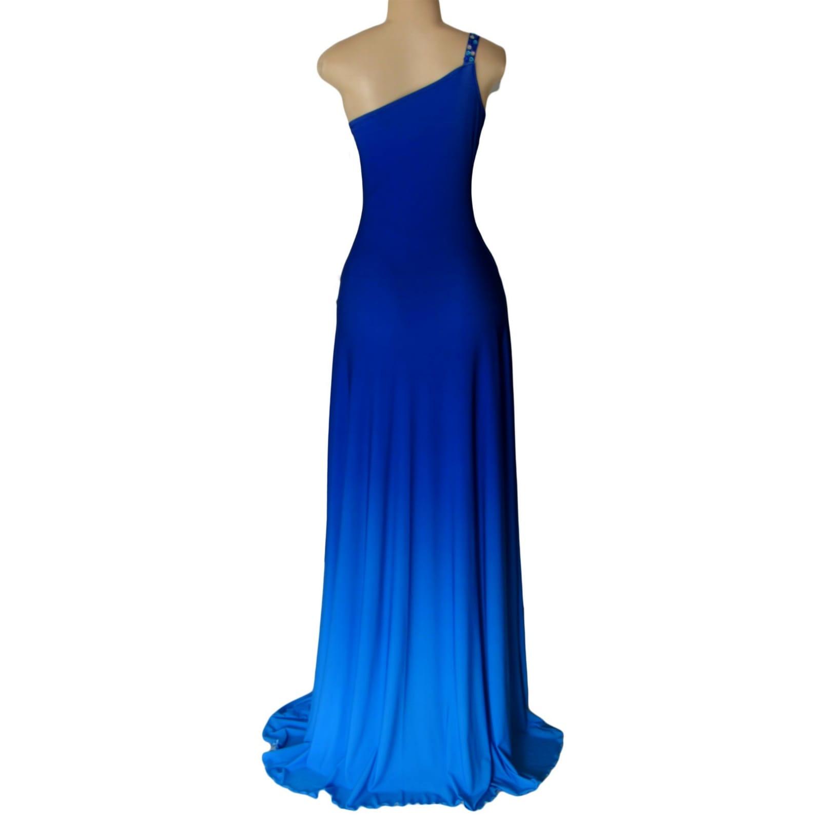 Vestido de dama de honra em sombra de azul 4 vestido de dama de honra em sombra de azul, com um único ombro com talões