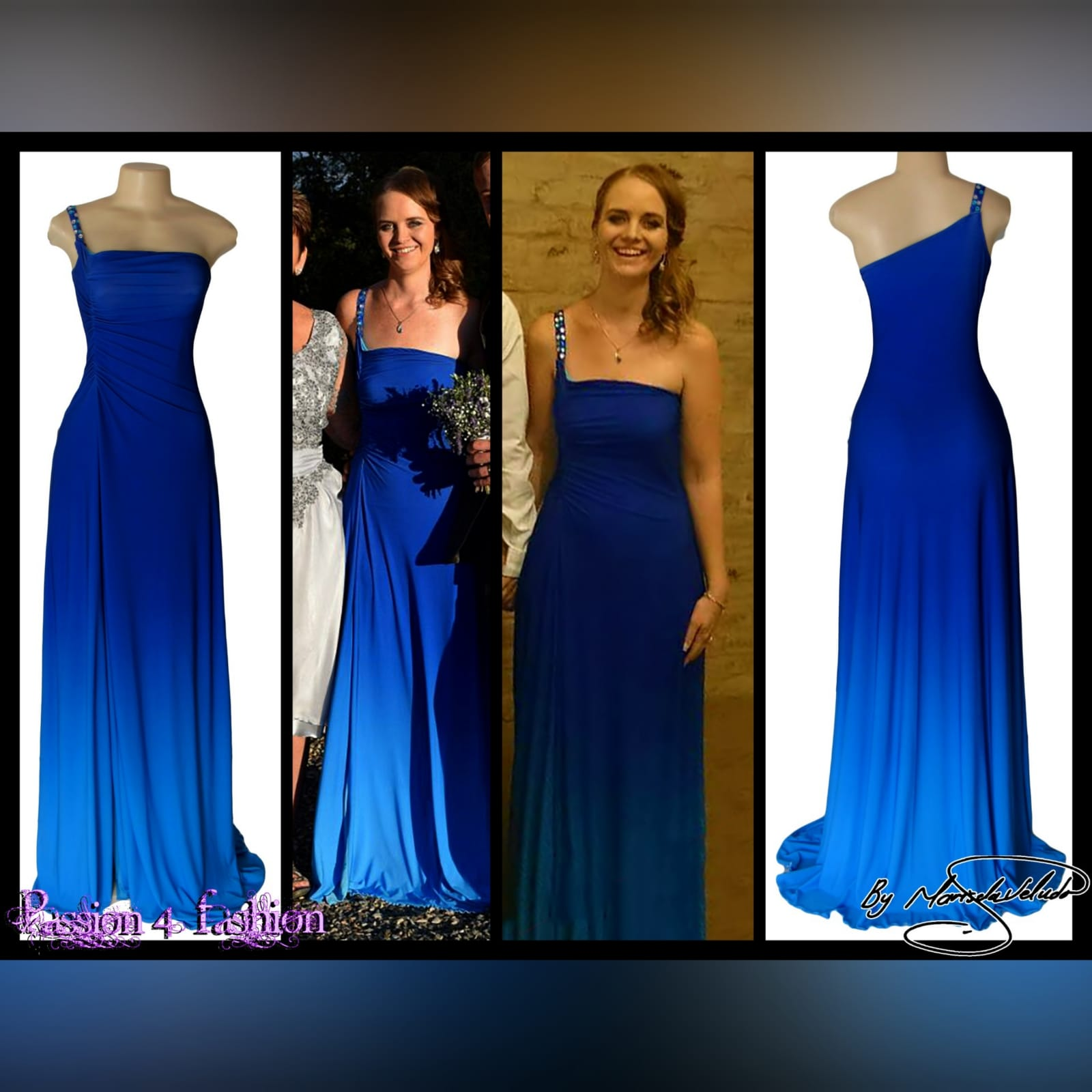 Blue ombre maid of honour dress 5 blue ombre maid of honour dress with a single beaded/bling shoulder design.