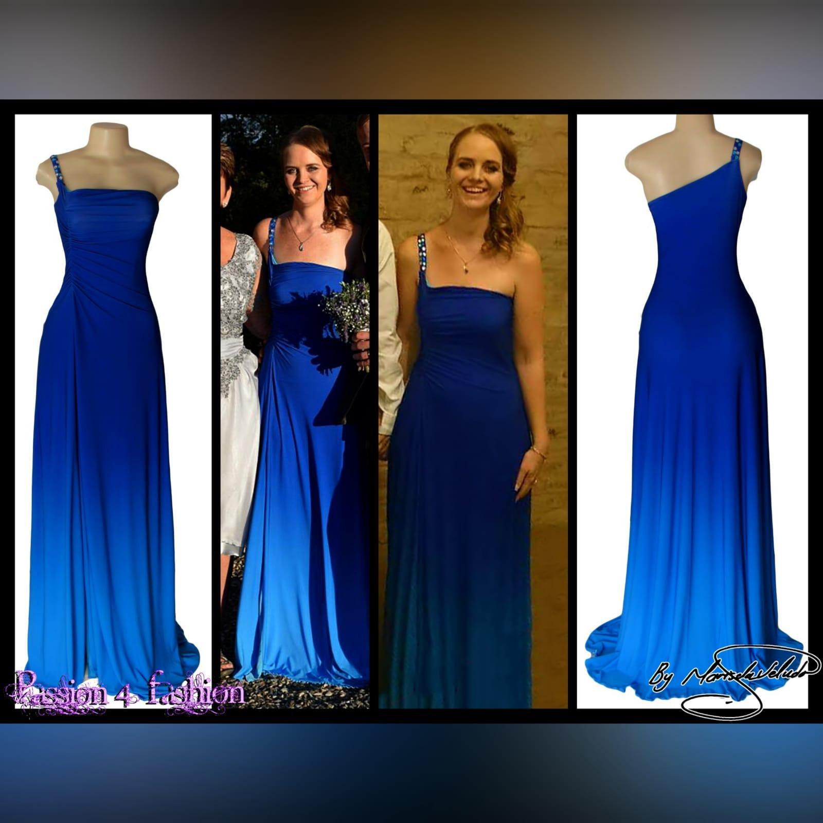 Vestido de dama de honra em sombra de azul 5 vestido de dama de honra em sombra de azul, com um único ombro com talões