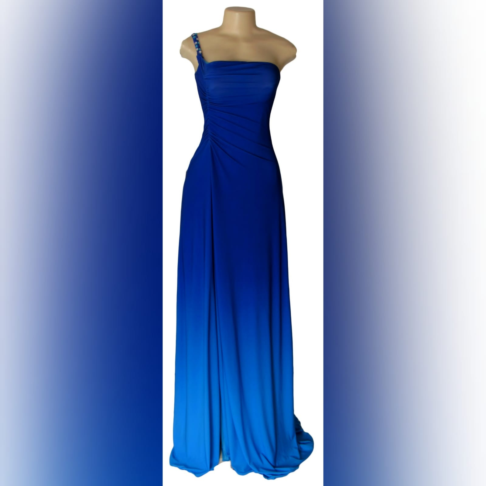 Blue ombre maid of honour dress 3 blue ombre maid of honour dress with a single beaded/bling shoulder design.