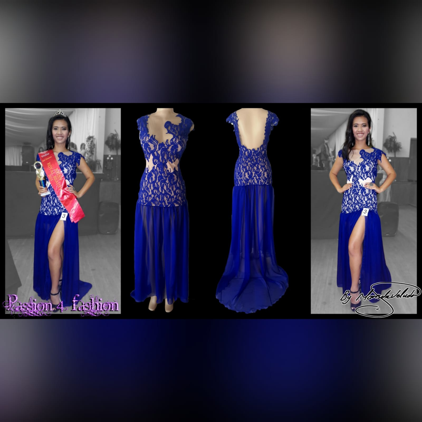 Royal blue pageant evening dress 6 royal blue pageant evening dress, with a lace bodice lined in nude, with a sheer gathered chiffon bottom with high slit, and a rounded open back.