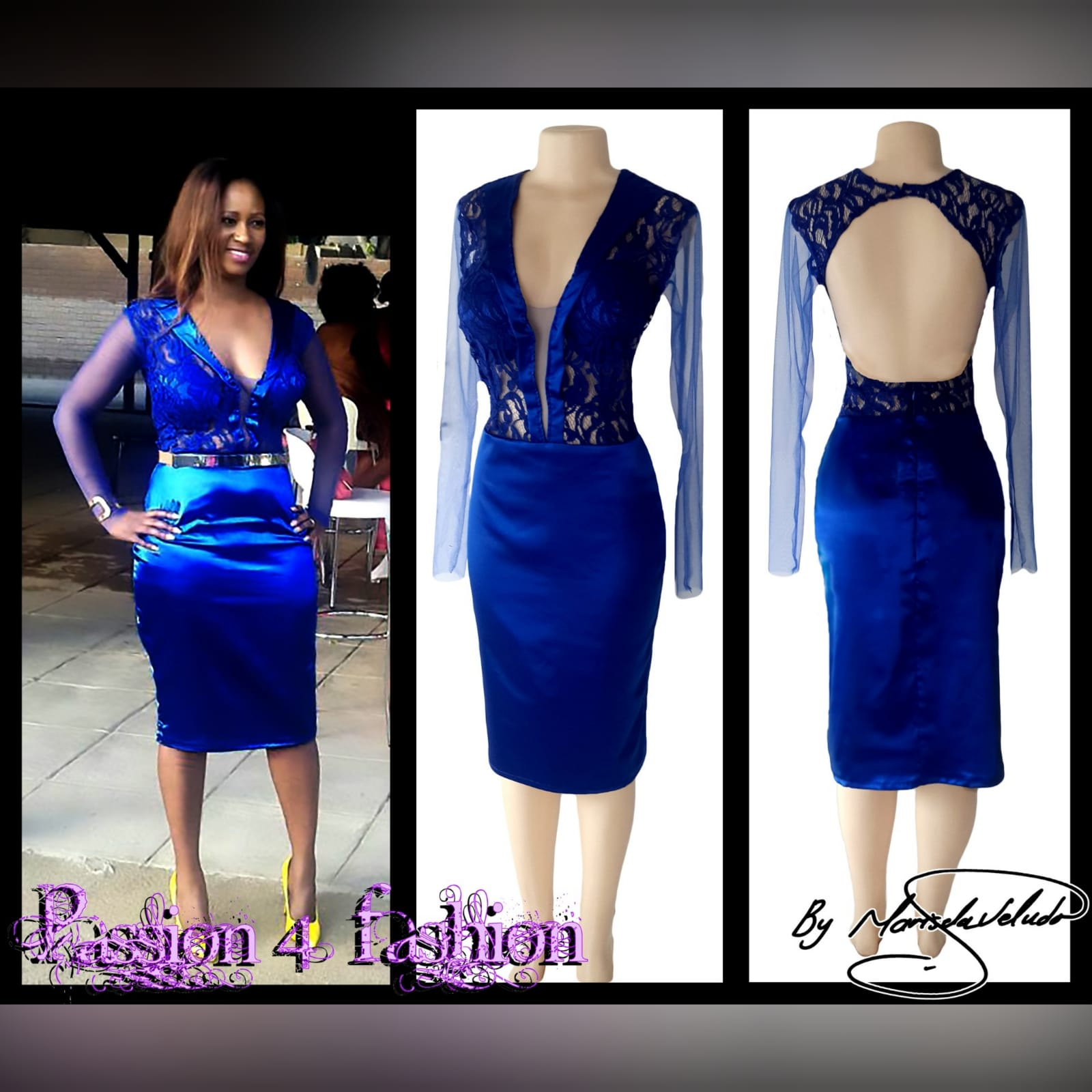 Royal blue short fitted satin party evening dress 3 royal blue short fitted satin party evening dress, with a lace bodice with satin collar detail and an open back, with tulle long sleeves