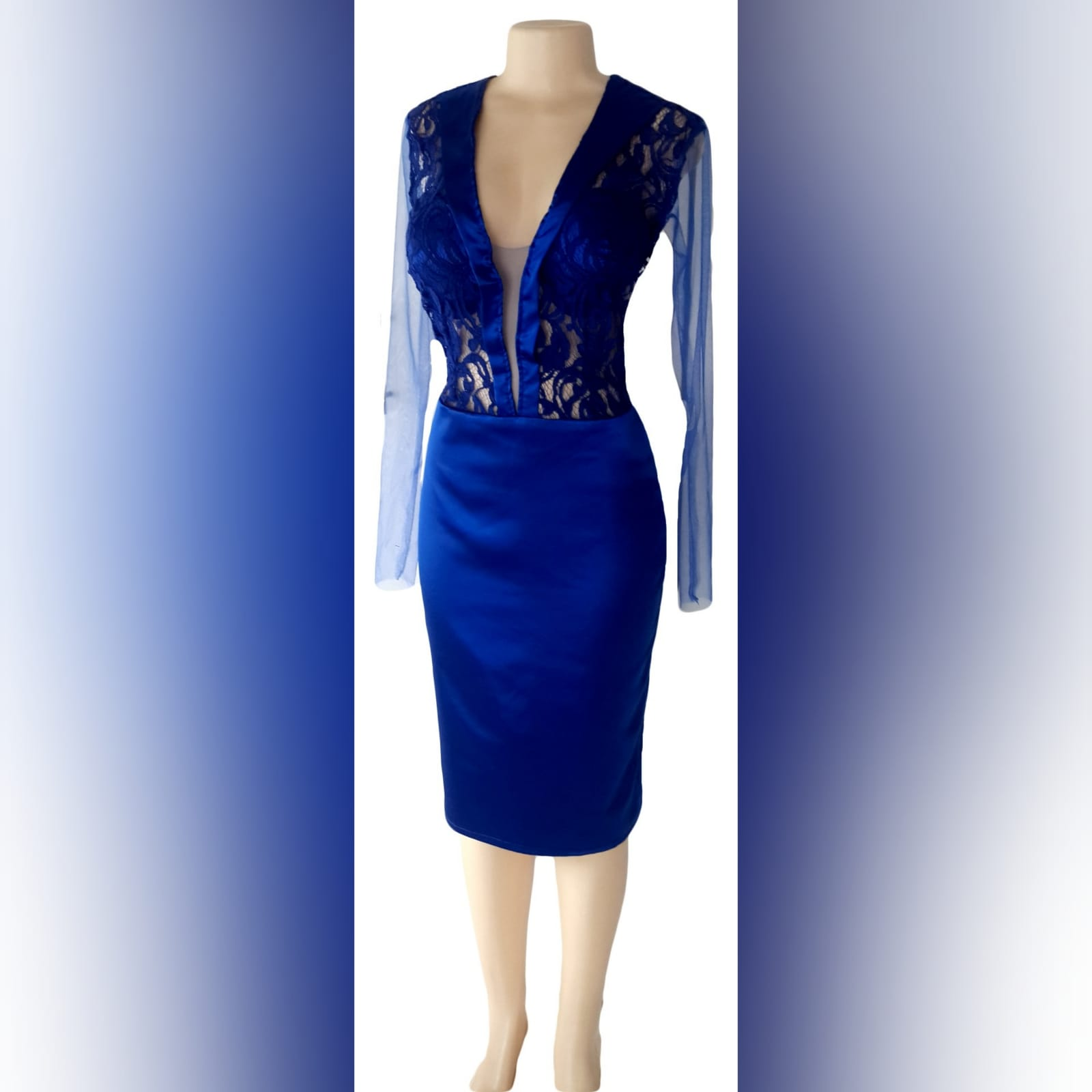 Royal blue short fitted satin party evening dress 5 royal blue short fitted satin party evening dress, with a lace bodice with satin collar detail and an open back, with tulle long sleeves