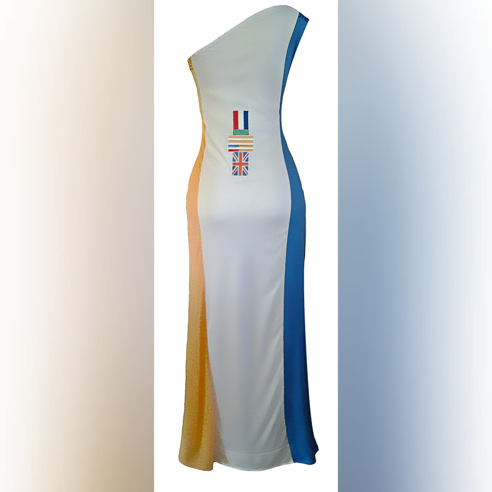 Single shoulder south african flag traditional dress 3 single shoulder south african flag traditional dress with the old flag faded design on the back and the new flag design in front with sequins and bead detail.