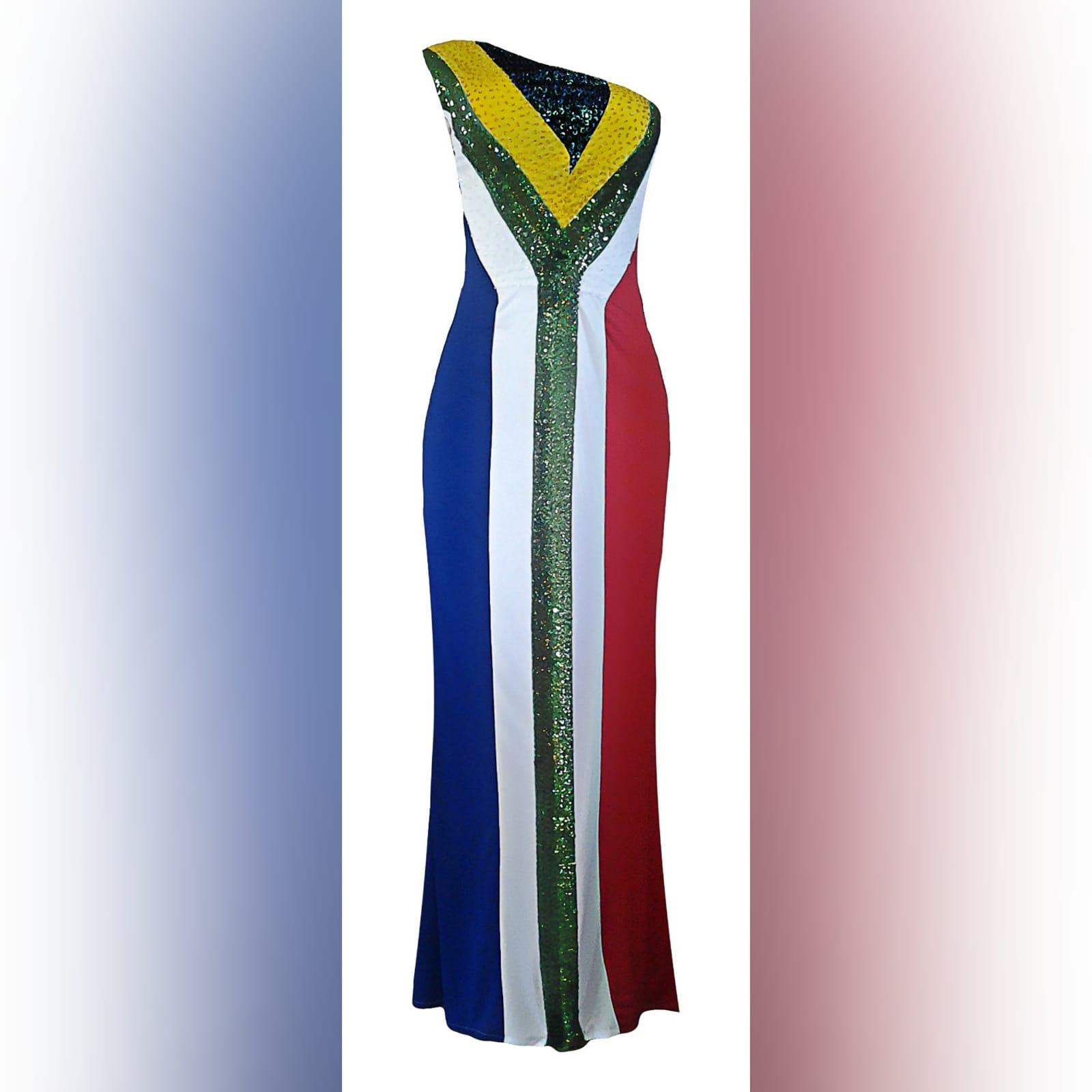 Single shoulder south african flag traditional dress 1 single shoulder south african flag traditional dress with the old flag faded design on the back and the new flag design in front with sequins and bead detail.