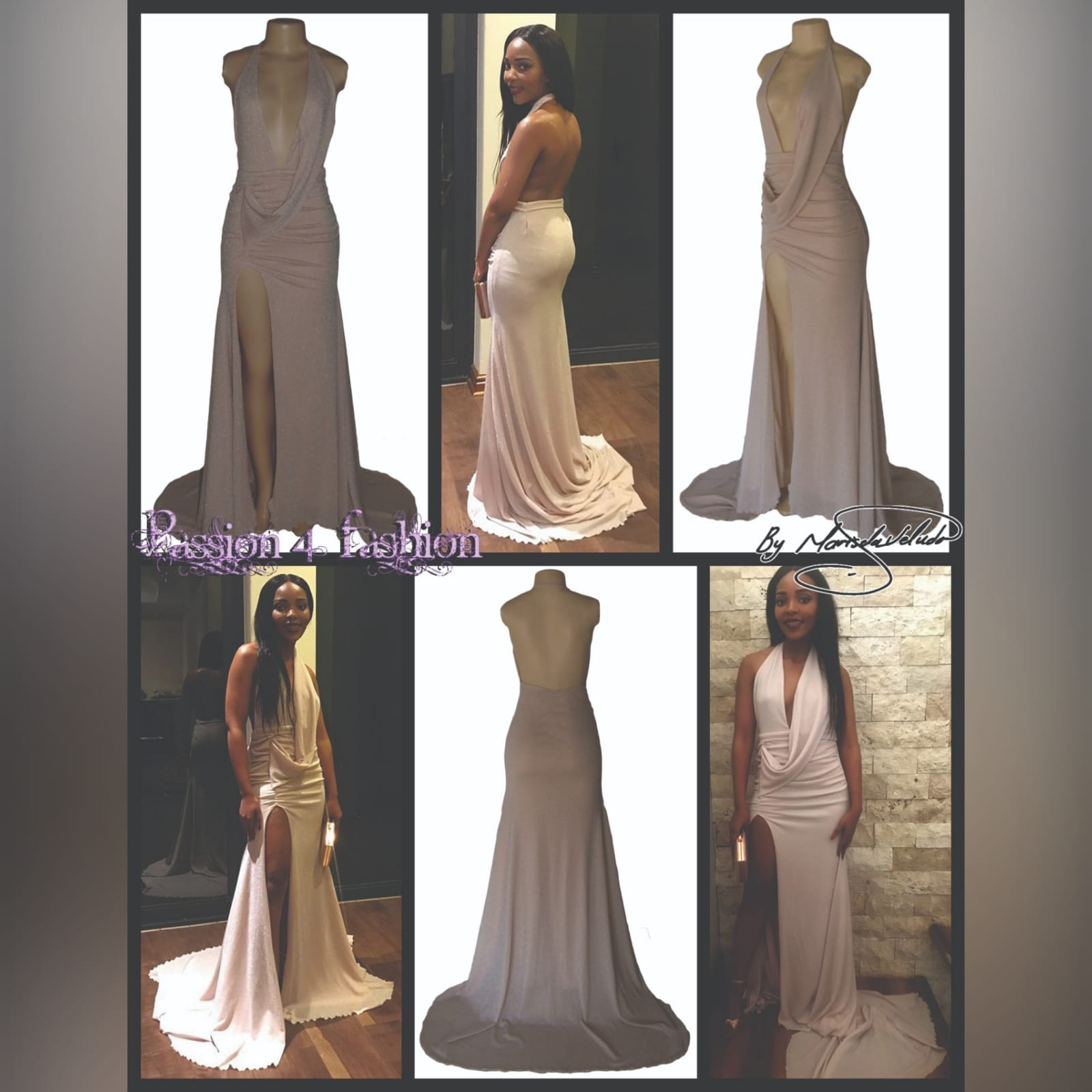Shimmer champagne plunging neckline occasion dress 4 shimmer champagne plunging neckline occasion dress with a naked back. A train and a slit. With a draped bodice effect.