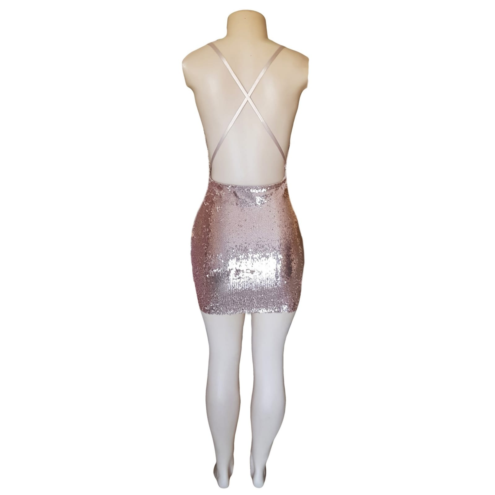Short mini rose gold fully sequins smart casual dress 5 short mini rose gold fully sequins smart casual dress with a low open back and thin crossed spaghetti straps.