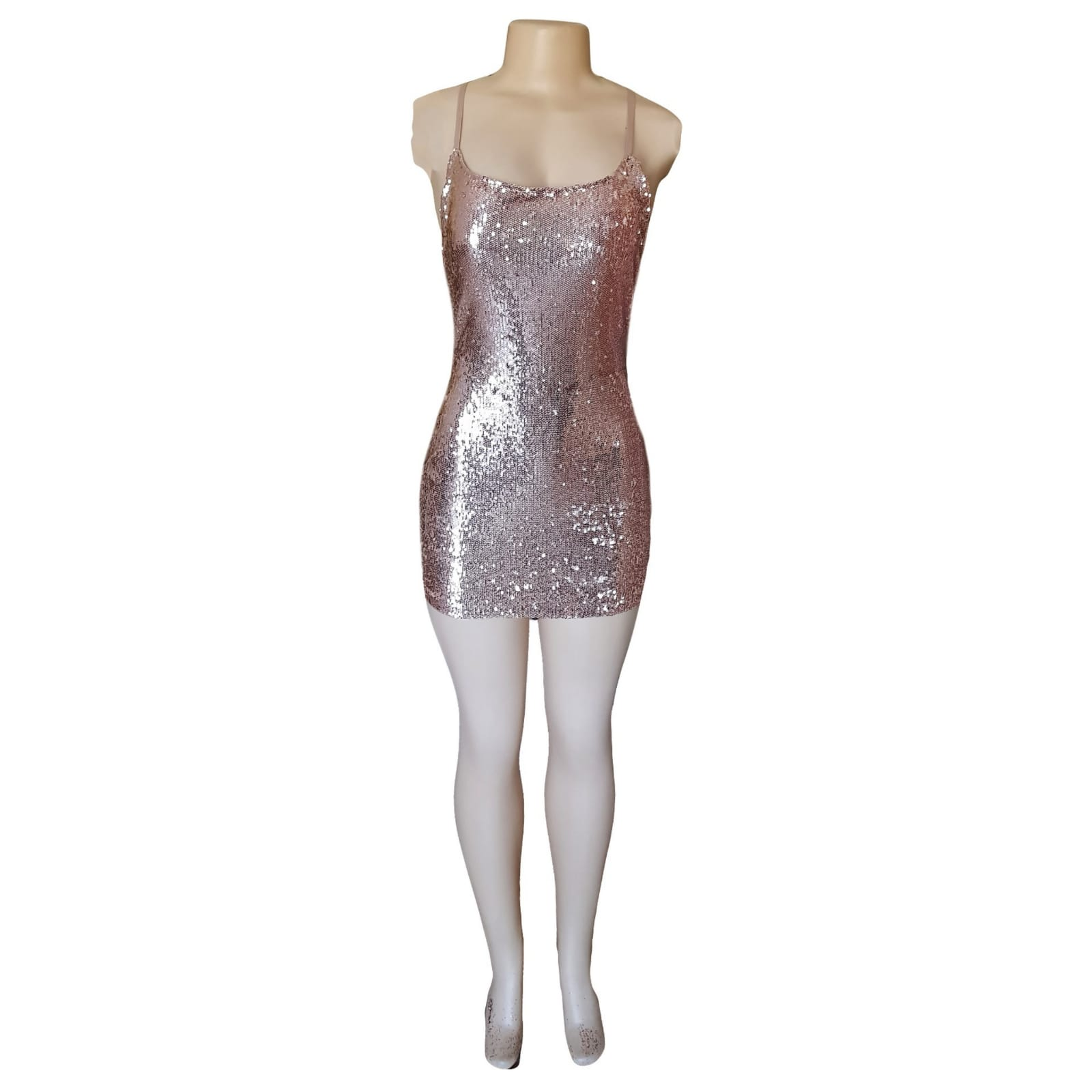 Short mini rose gold fully sequins smart casual dress 1 short mini rose gold fully sequins smart casual dress with a low open back and thin crossed spaghetti straps.