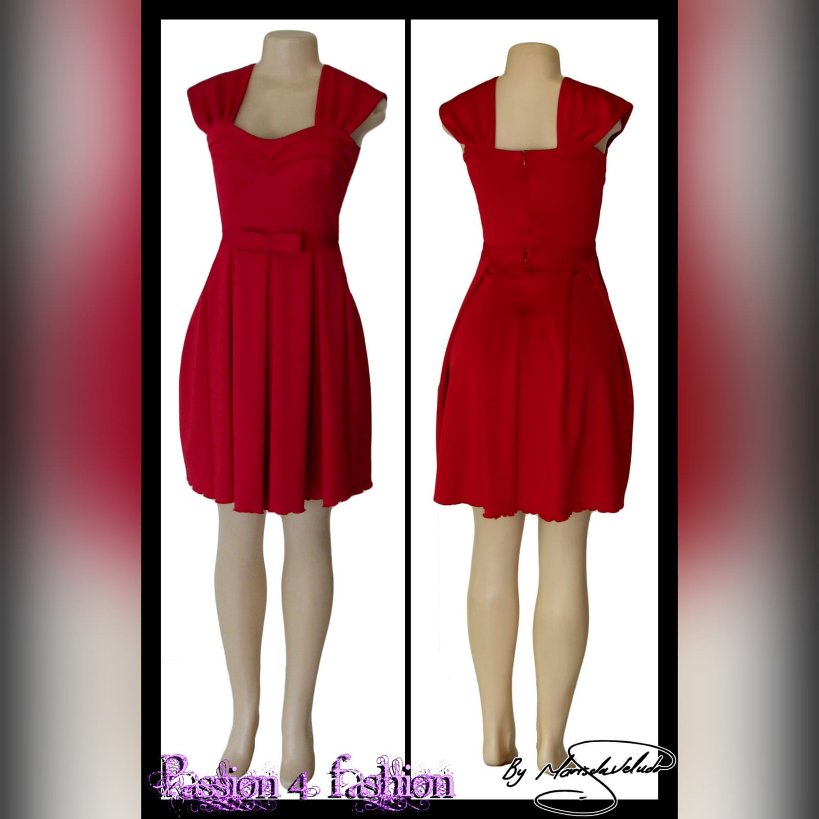 Short red pleated evening dress 2 short red pleated evening dress with a pleated sweetheart neckline and a detachable belt with bow detail