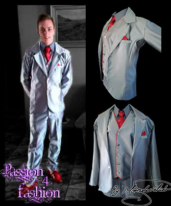 Silver 3 piece mens formal suit