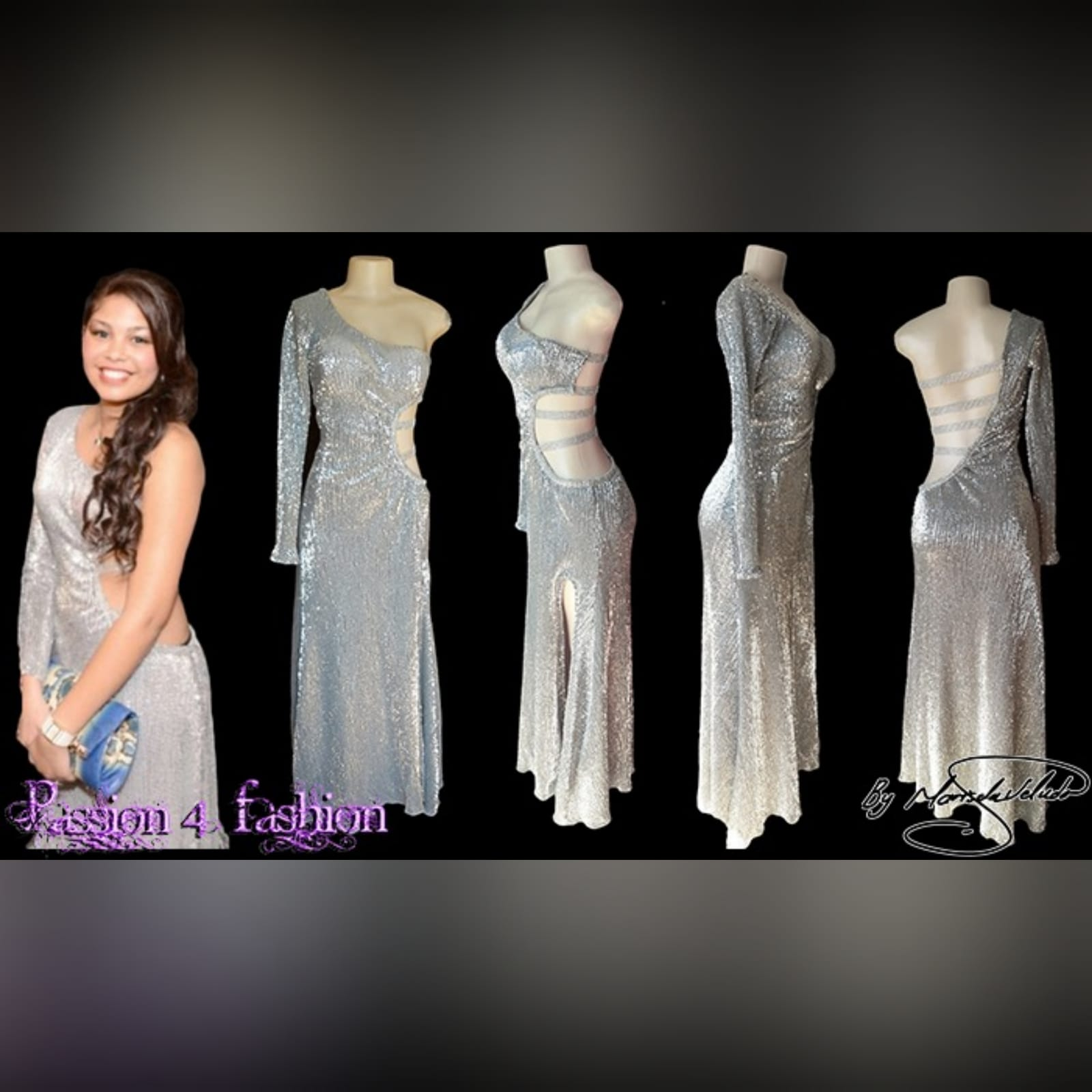 Silver sequins long sexy end year party dress 6 silver sequins long sexy end year party dress with side tummy and back opening detailed with straps, one sleeve and a train.