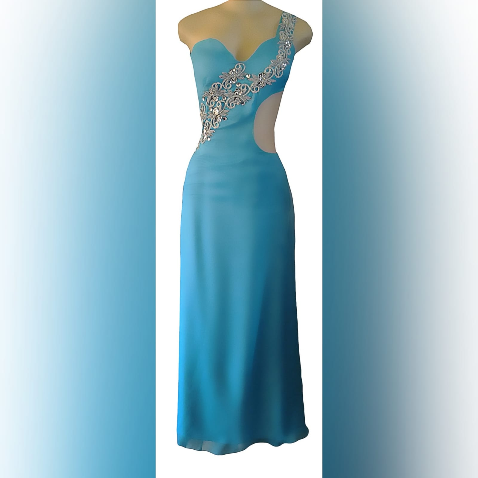 Sky blue chiffon long matric farewell dress 7 sky blue chiffon long matric farewell dress with side tummy opening and low open back. Detailed with silver embellishments. With gathered back chiffon train.