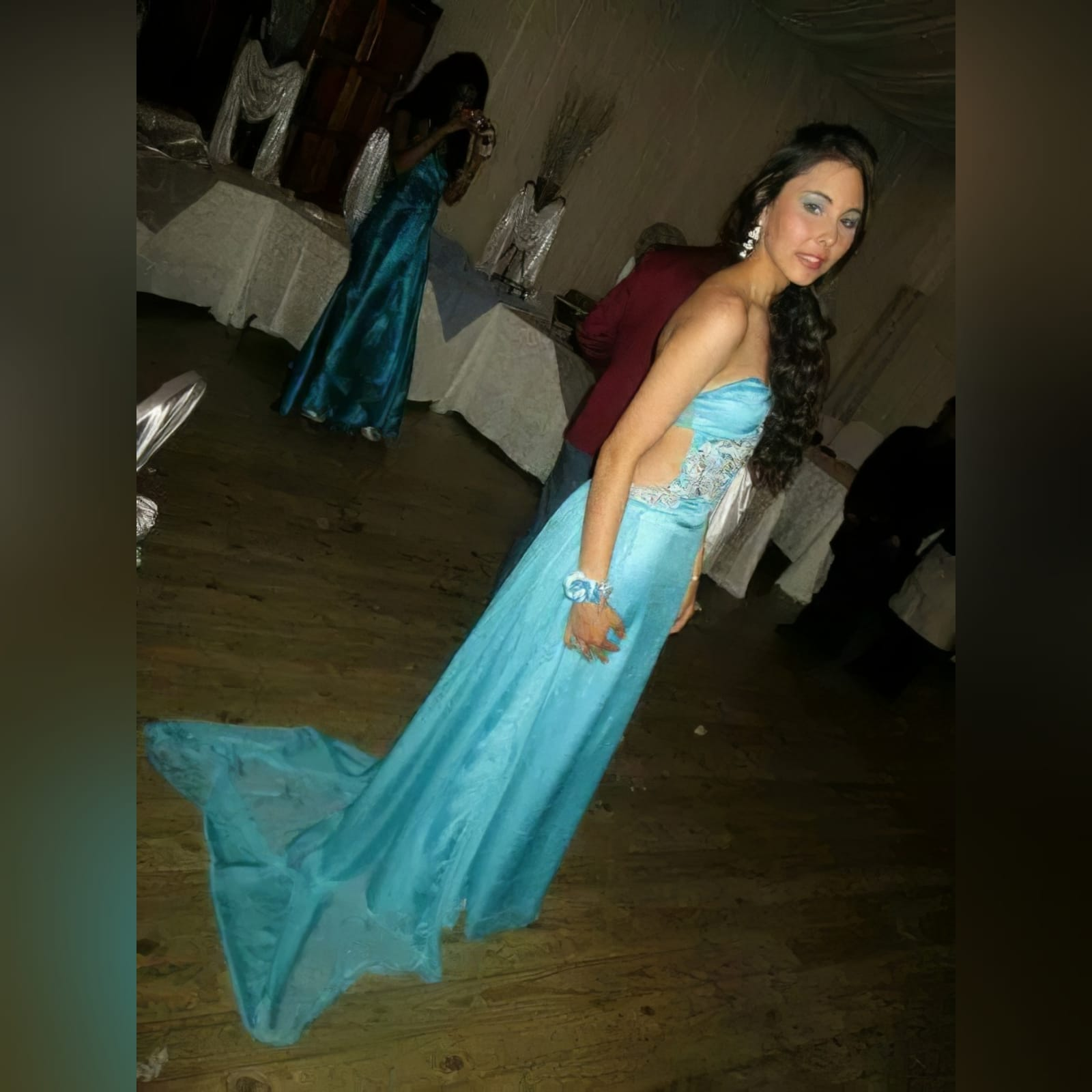 Sky blue chiffon long matric farewell dress 5 sky blue chiffon long matric farewell dress with side tummy opening and low open back. Detailed with silver embellishments. With gathered back chiffon train.