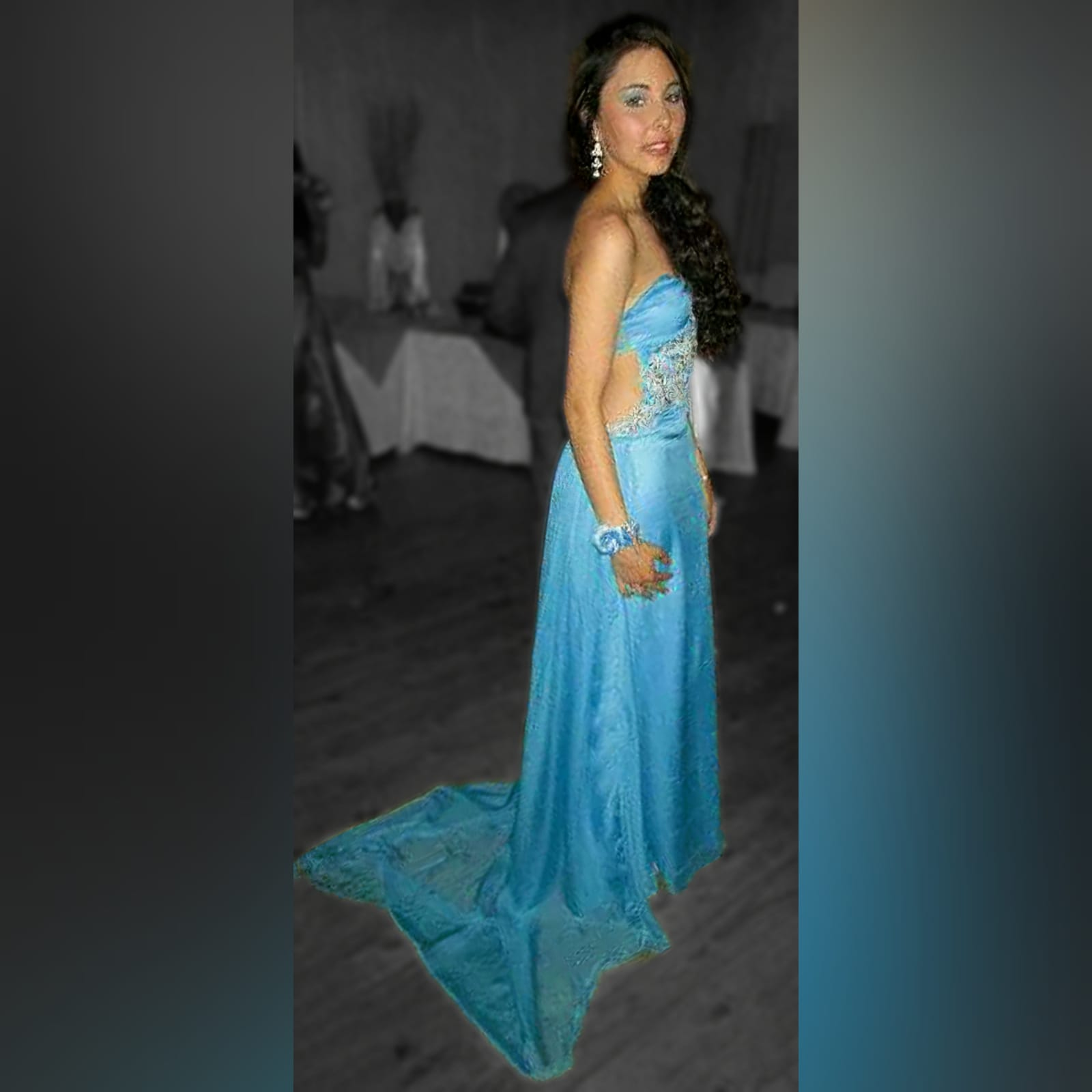 Sky blue chiffon long matric farewell dress 3 sky blue chiffon long matric farewell dress with side tummy opening and low open back. Detailed with silver embellishments. With gathered back chiffon train.