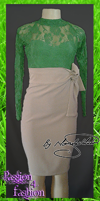2 piece beige and green smart casual outfit. A pencil skirt with a tie-up waistband. With a lace top with long sleeve.