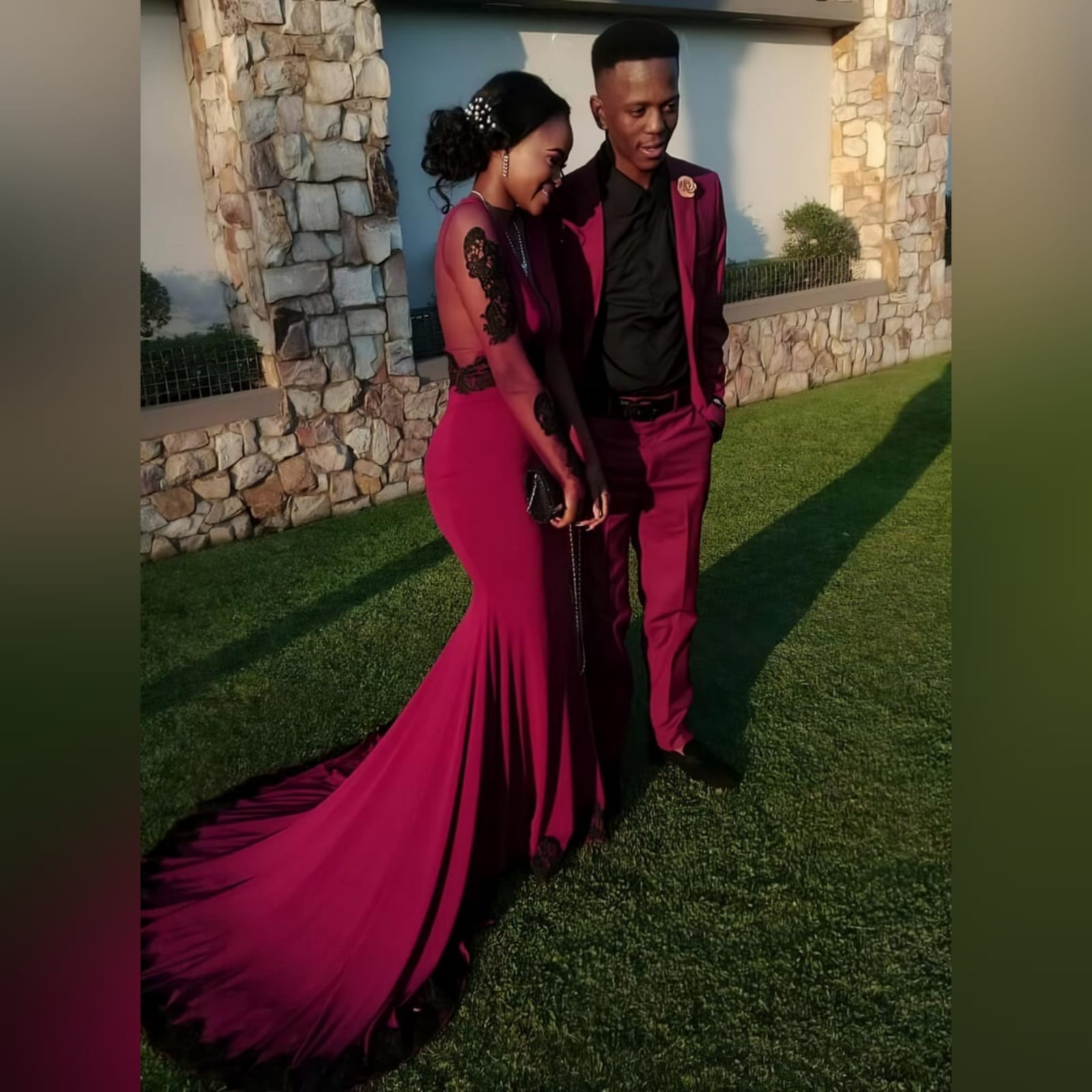 Soft mermaid burgundy matric farewell dress detailed with black lace 4 palesa looked gorgeous with my creation. A soft mermaid burgundy matric farewell dress detailed with black lace. With a sheer open back and long sheer sleeves detailed with black lace.
