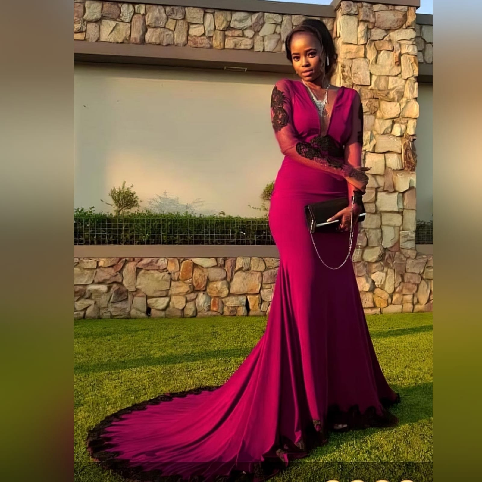Soft mermaid burgundy matric farewell dress detailed with black lace 6 palesa looked gorgeous with my creation. A soft mermaid burgundy matric farewell dress detailed with black lace. With a sheer open back and long sheer sleeves detailed with black lace.