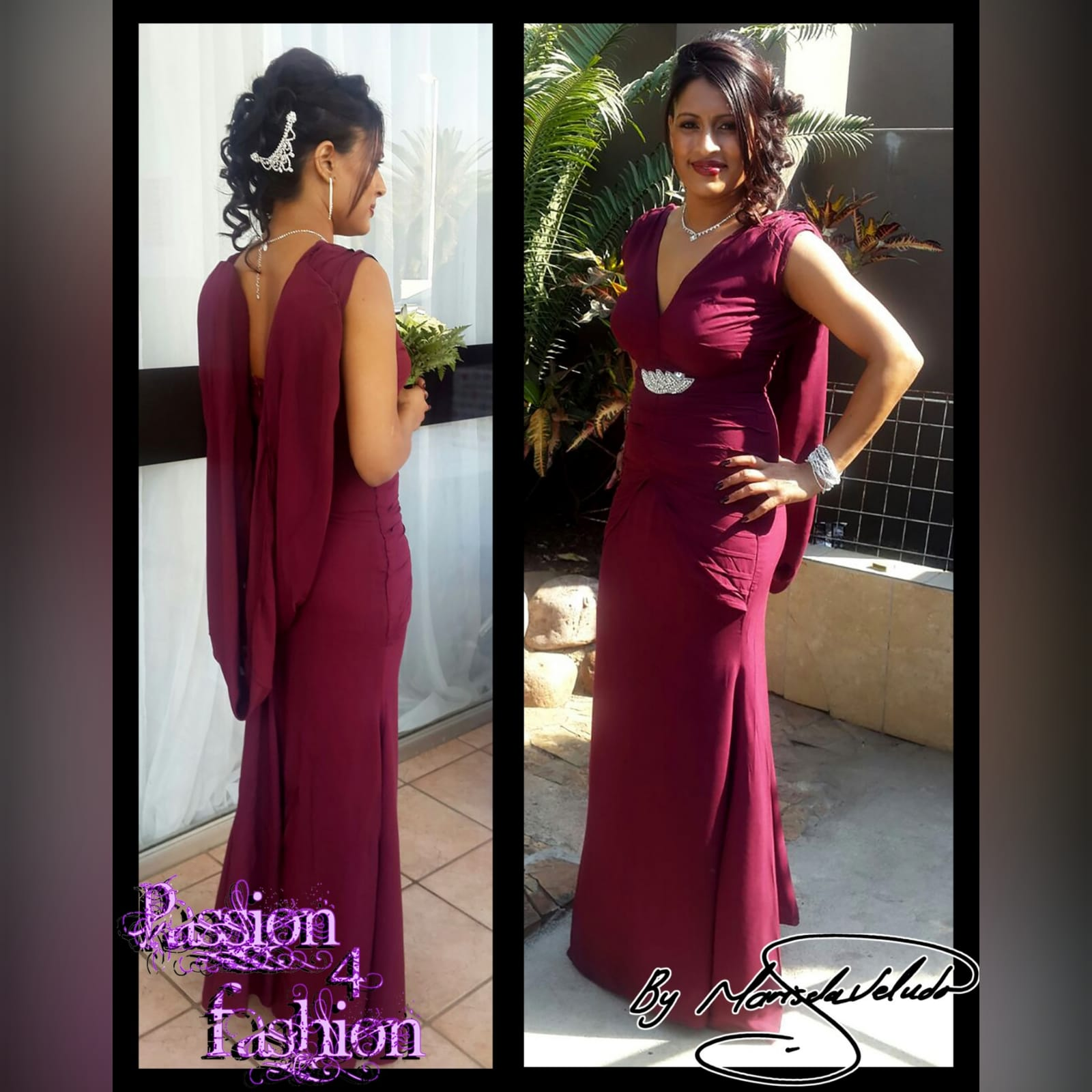 Soft mermaid maroon maid of honour dress 4 soft mermaid, maroon, maid of honour dress. With an open back. V neckline. With gathered shoulder and pleated tummy panel effect. With a detachable shoulder piece. Added silver detailing.