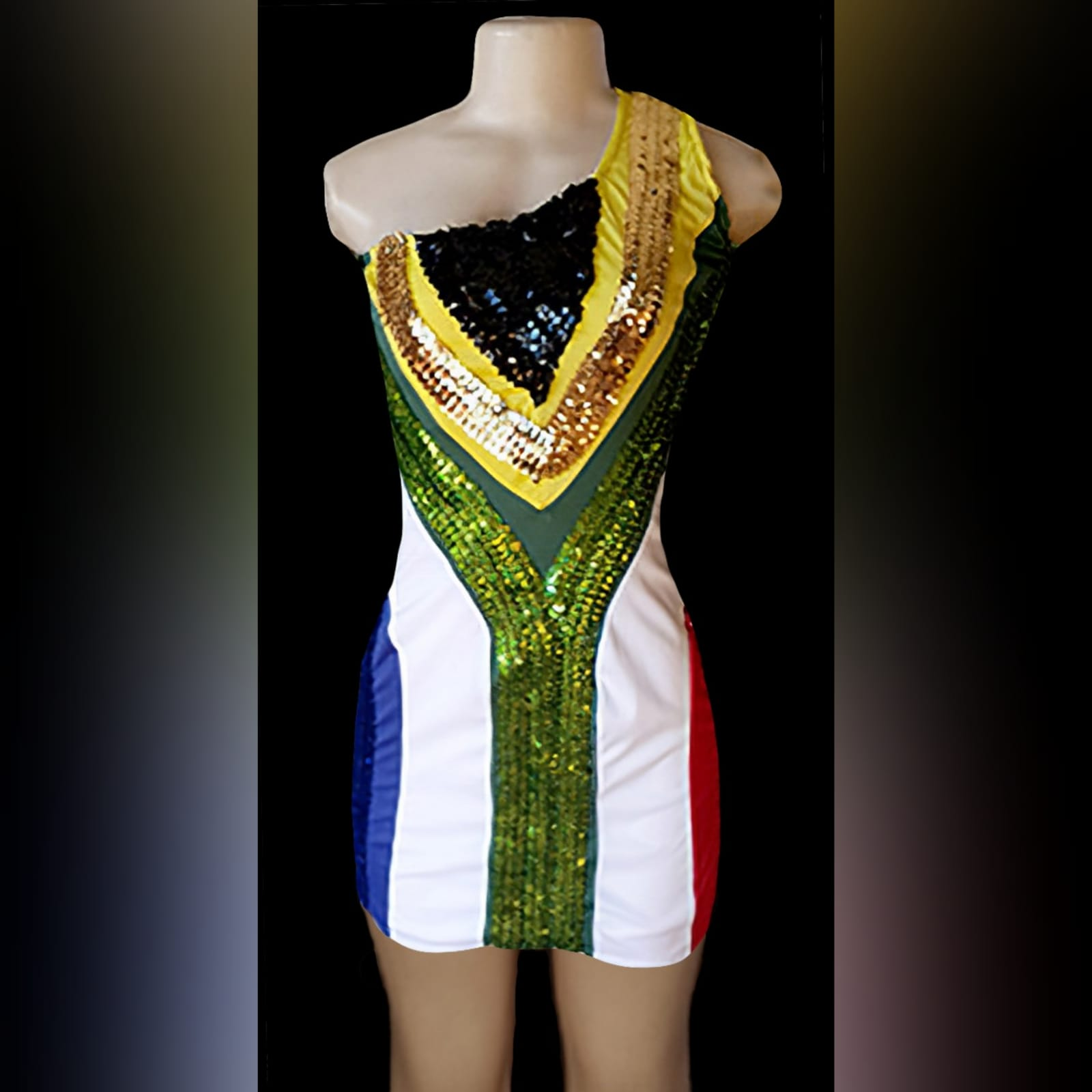 South african flag dress with single shoulder 1 a stretchy, south african mini dress with a single shoulder. Dress with and without sequins. Designed and made for a client in the uk.