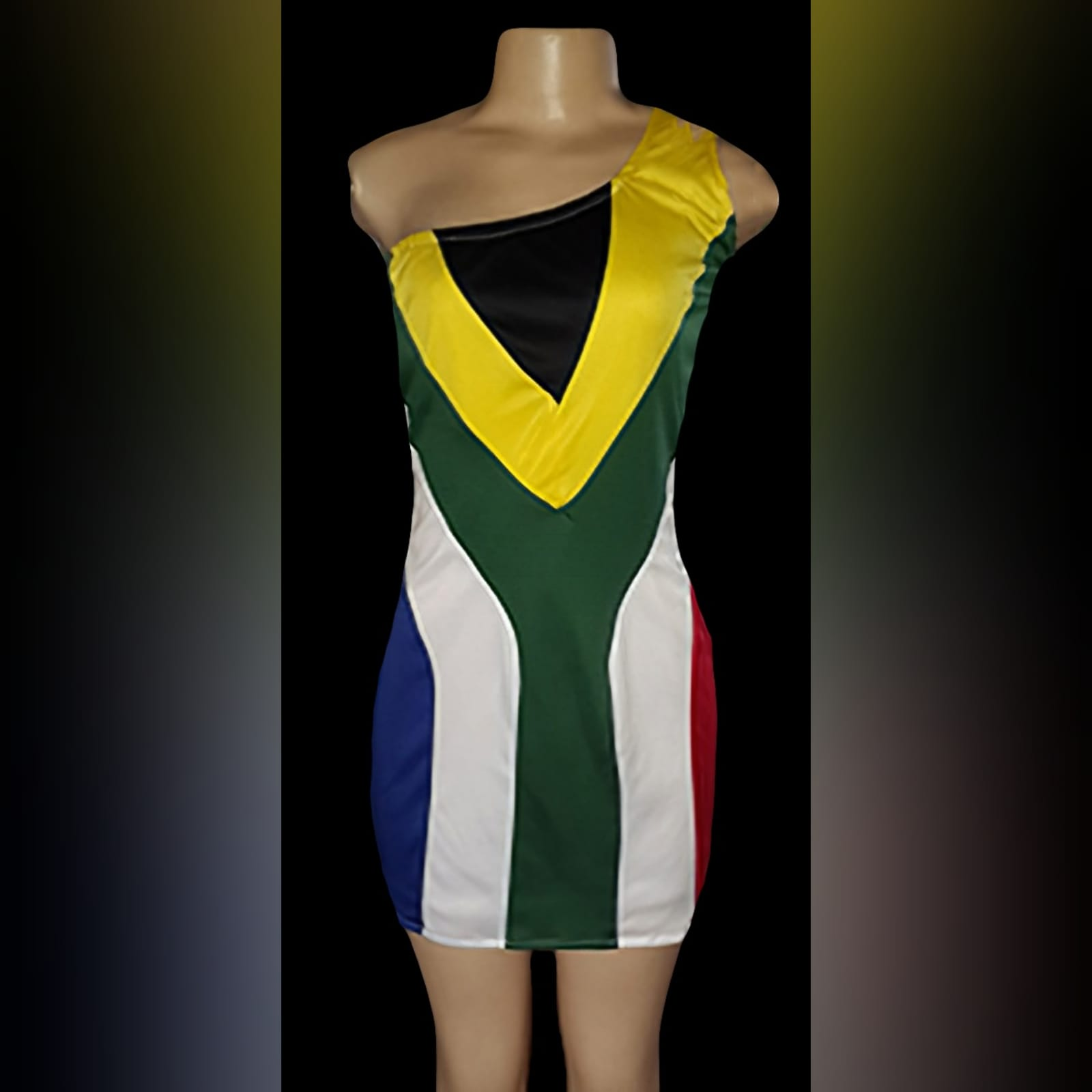 South african flag dress with single shoulder 3 a stretchy, south african mini dress with a single shoulder. Dress with and without sequins. Designed and made for a client in the uk.