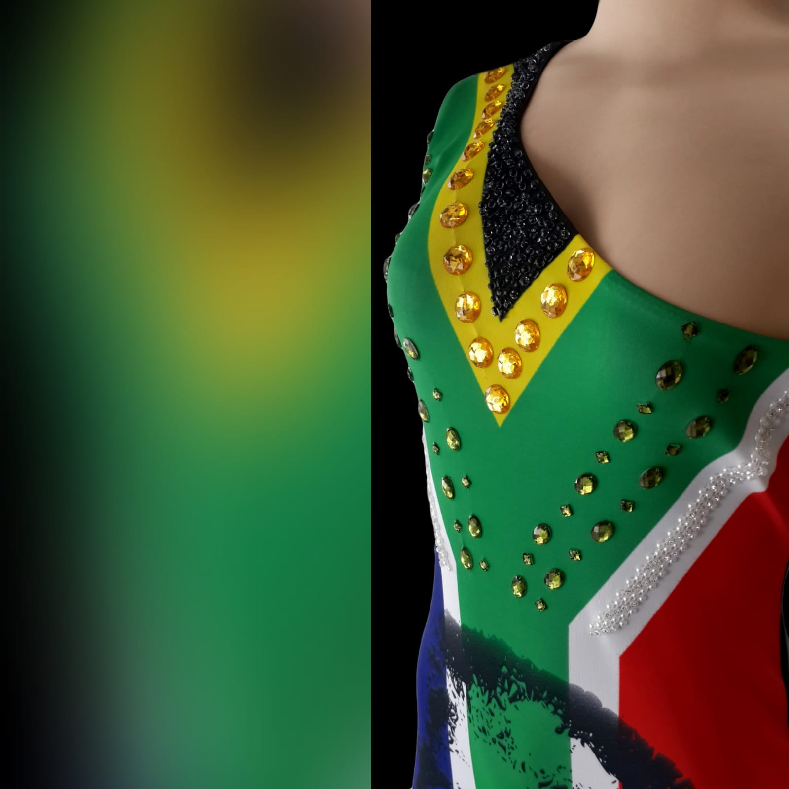 South african flag evening traditional dress 2 sa flag with mandela face, evening dress with a single shoulder and a train. Beaded detailing.