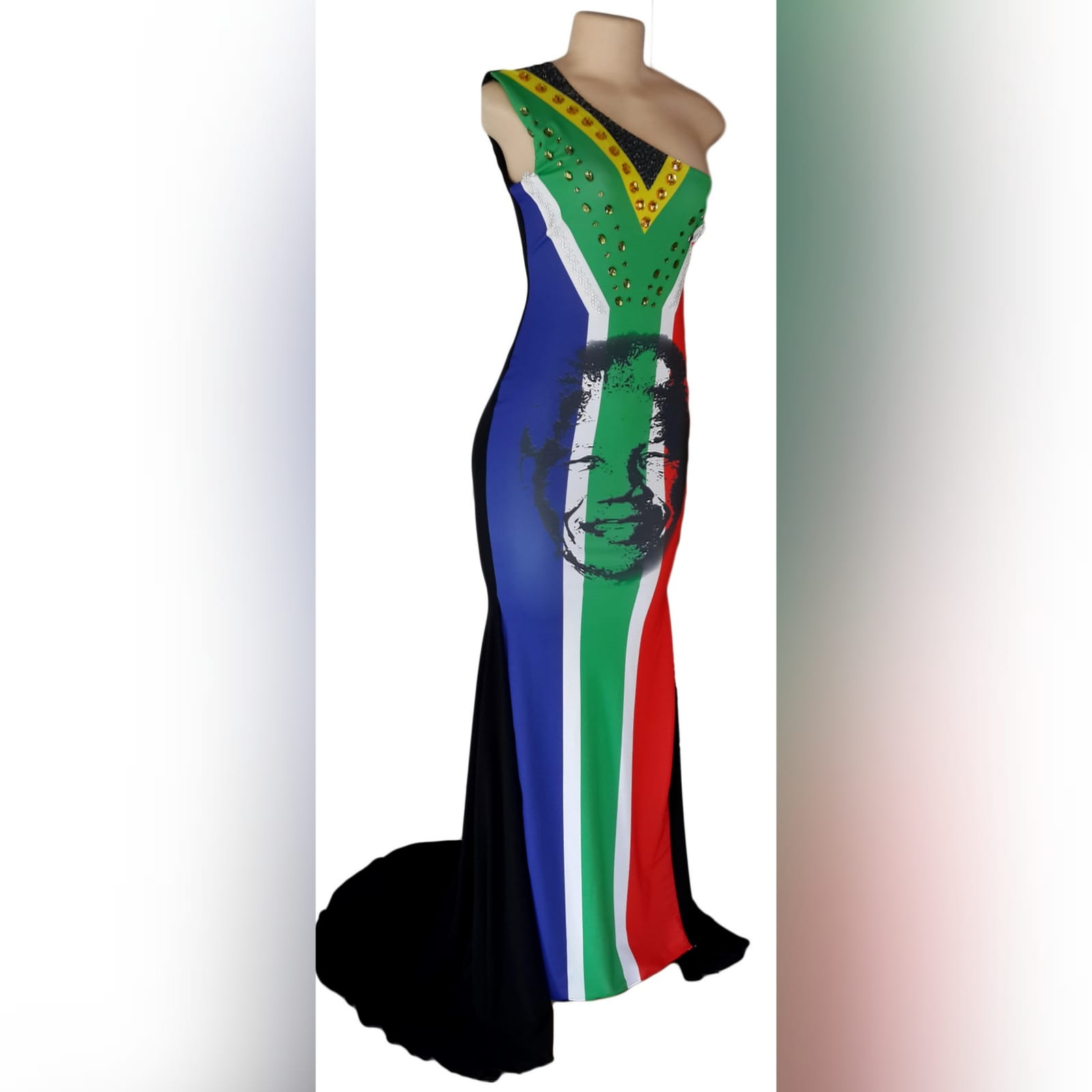 South african flag evening traditional dress 5 sa flag with mandela face, evening dress with a single shoulder and a train. Beaded detailing.