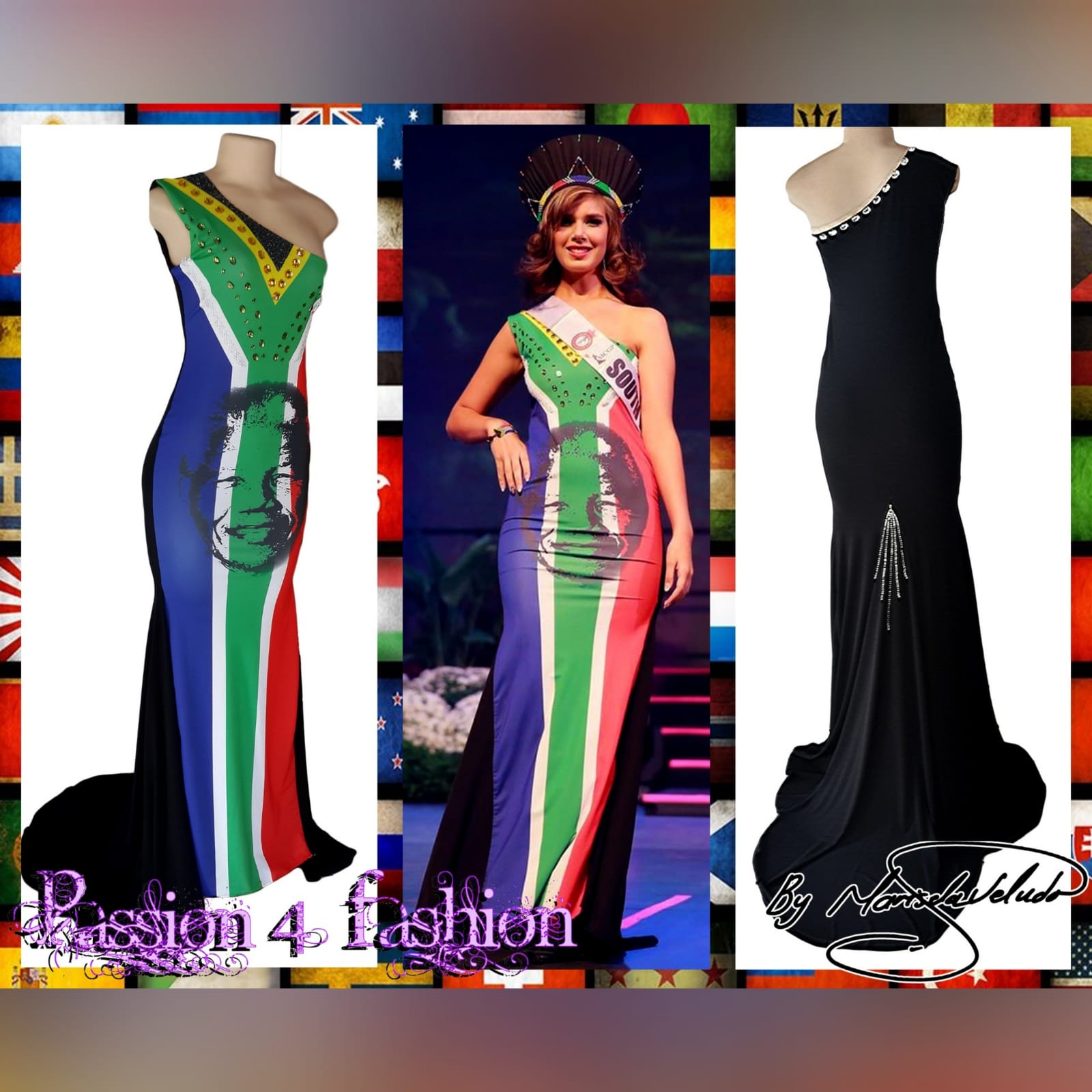 South african flag evening traditional dress 6 sa flag with mandela face, evening dress with a single shoulder and a train. Beaded detailing.