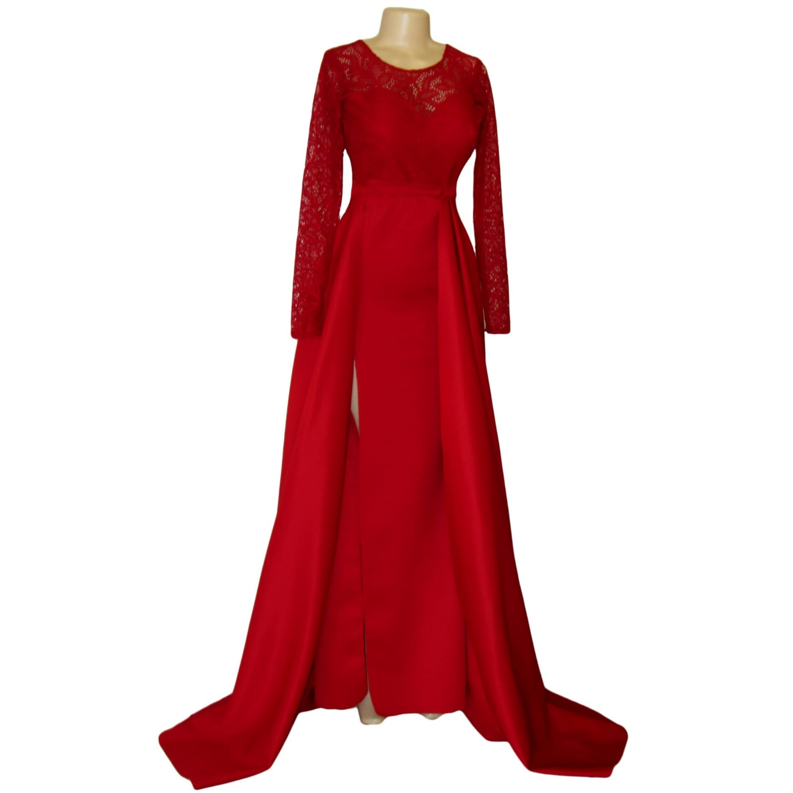 Straight cut deep red open back gala dress 6 straight cut deep red open back gala dress. With a lace bodice, long lace sleeves and a slit. With a detachable train.