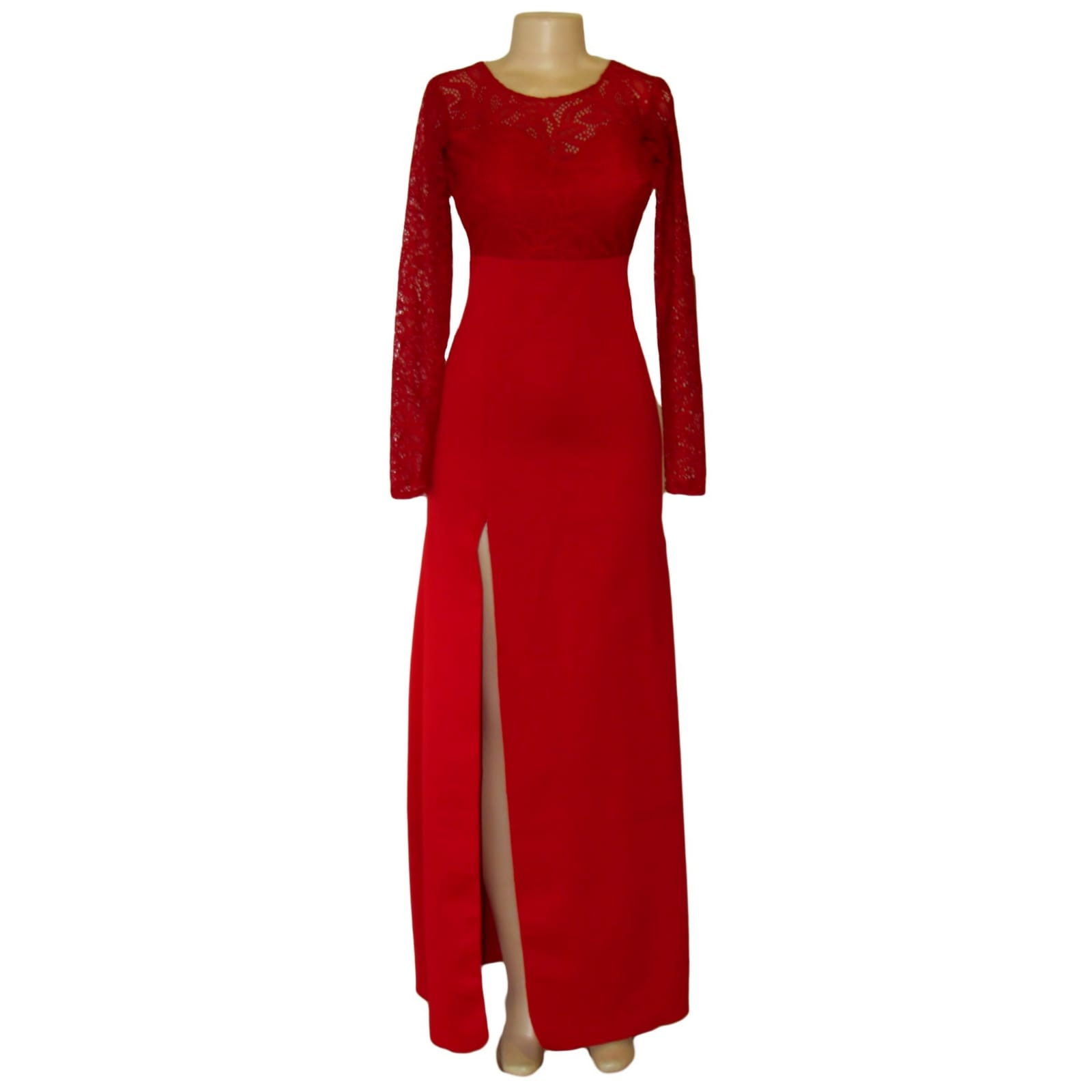 Straight cut deep red open back gala dress 7 straight cut deep red open back gala dress. With a lace bodice, long lace sleeves and a slit. With a detachable train.