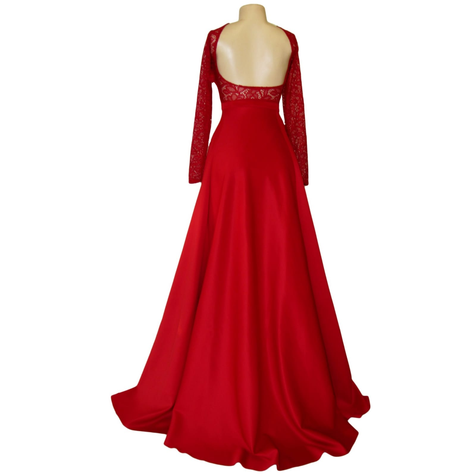 Straight cut deep red open back gala dress 2 straight cut deep red open back gala dress. With a lace bodice, long lace sleeves and a slit. With a detachable train.
