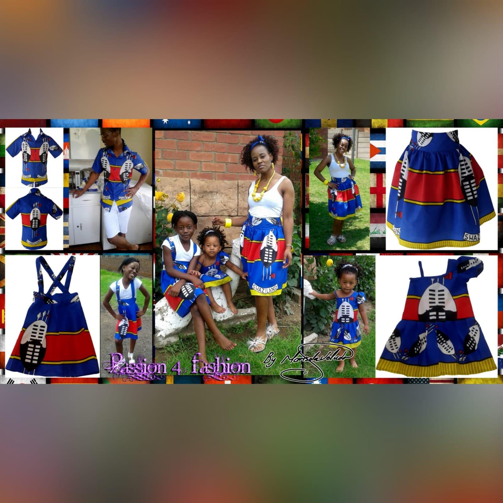Swati traditional wedding attire 3 mens swazi/swati short sleeve shirt. High waisted swazi/swati skirt. High waisted pleated swazi/swati skirt with crossed shoulder straps. One sleeve little girls swazi/swati dress with shoulder strap. Traditional wedding attire